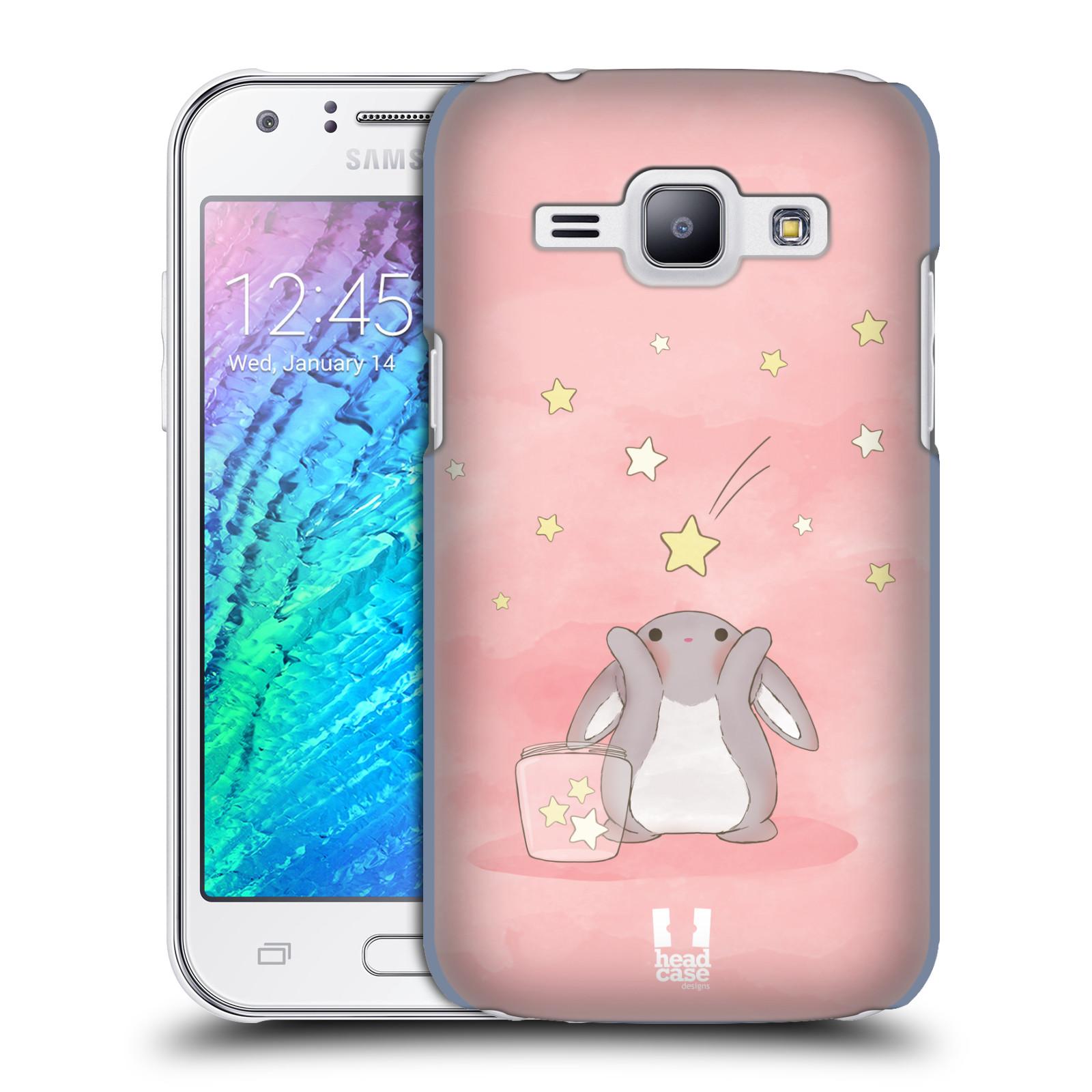HEAD CASE plastový obal na mobil SAMSUNG Galaxy J1, J100 vzor králíček a hvězdy růžová
