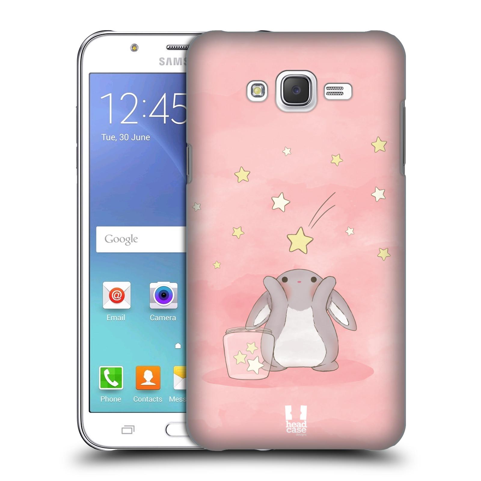 HEAD CASE plastový obal na mobil SAMSUNG Galaxy J7, J700 vzor králíček a hvězdy růžová