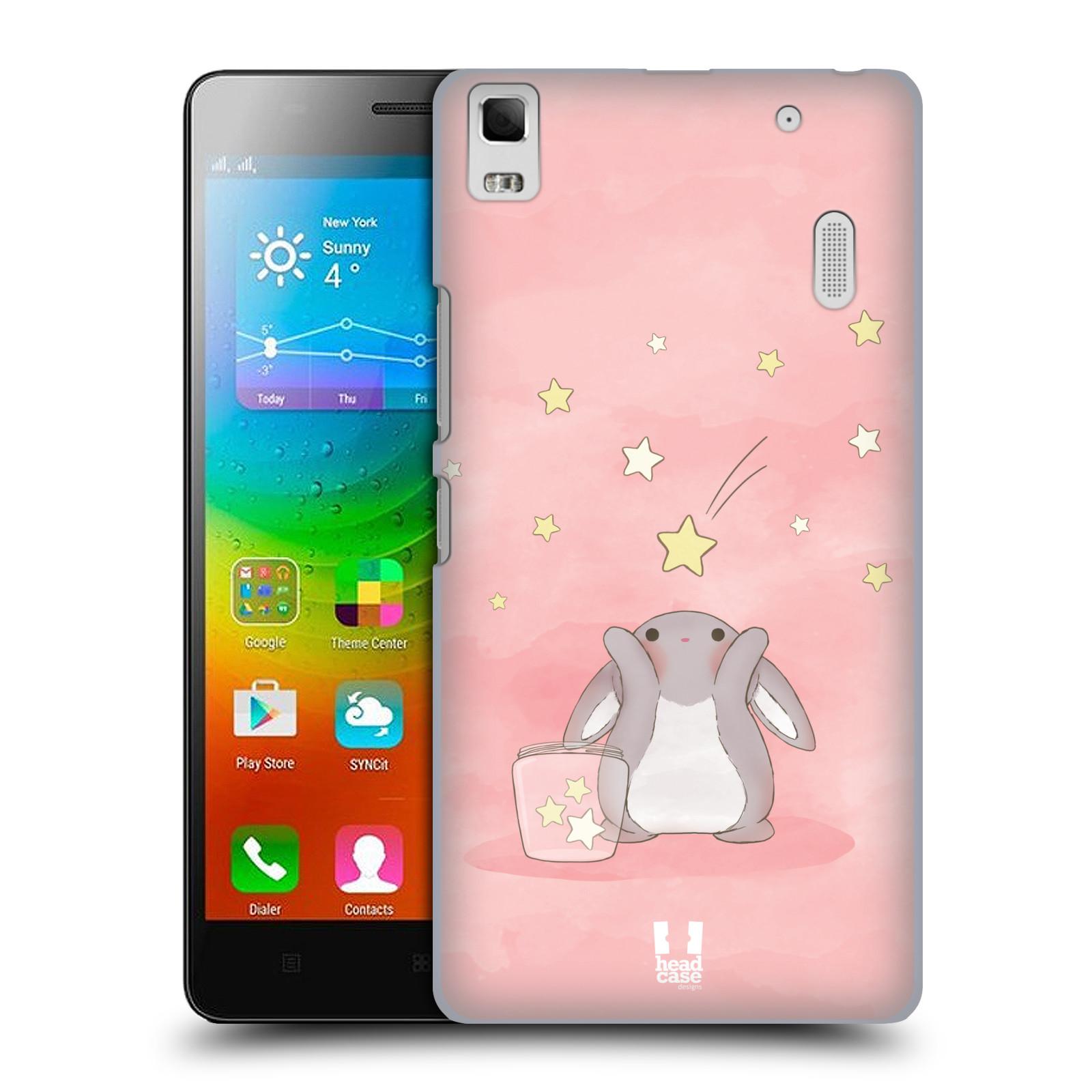 HEAD CASE pevný plastový obal na mobil LENOVO A7000 / A7000 DUAL / K3 NOTE vzor králíček a hvězdy růžová