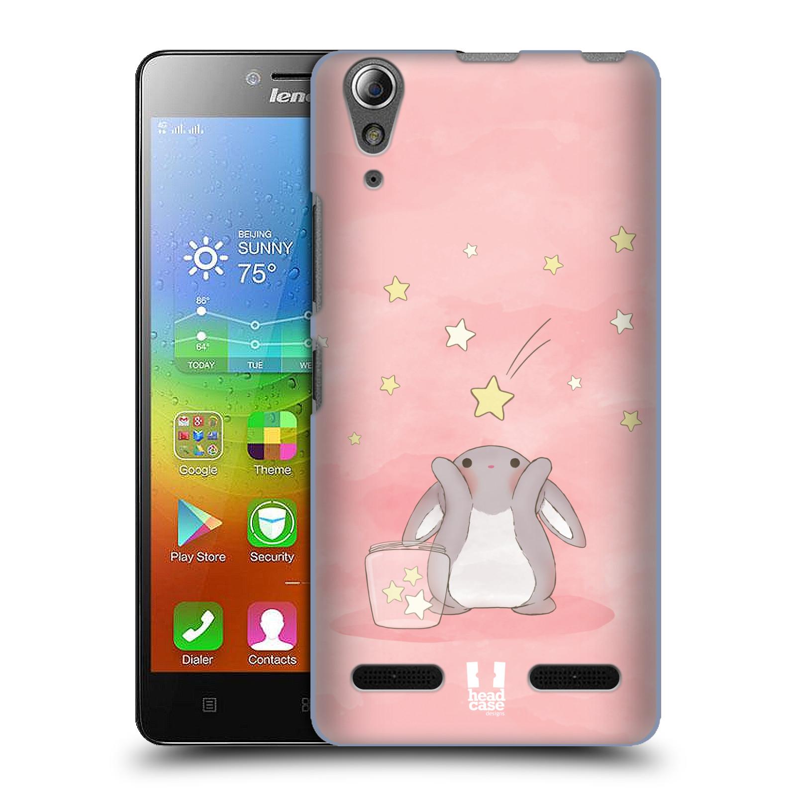 HEAD CASE pevný plastový obal na mobil LENOVO A6000 / A6000 PLUS vzor králíček a hvězdy růžová