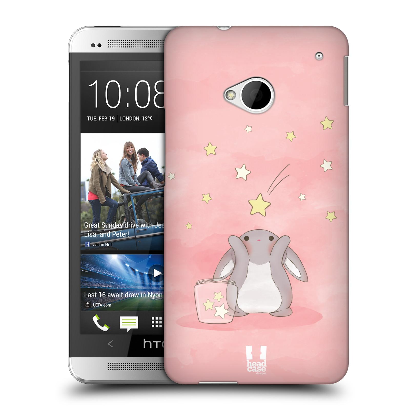 HEAD CASE plastový obal na mobil HTC One (M7) vzor králíček a hvězdy růžová