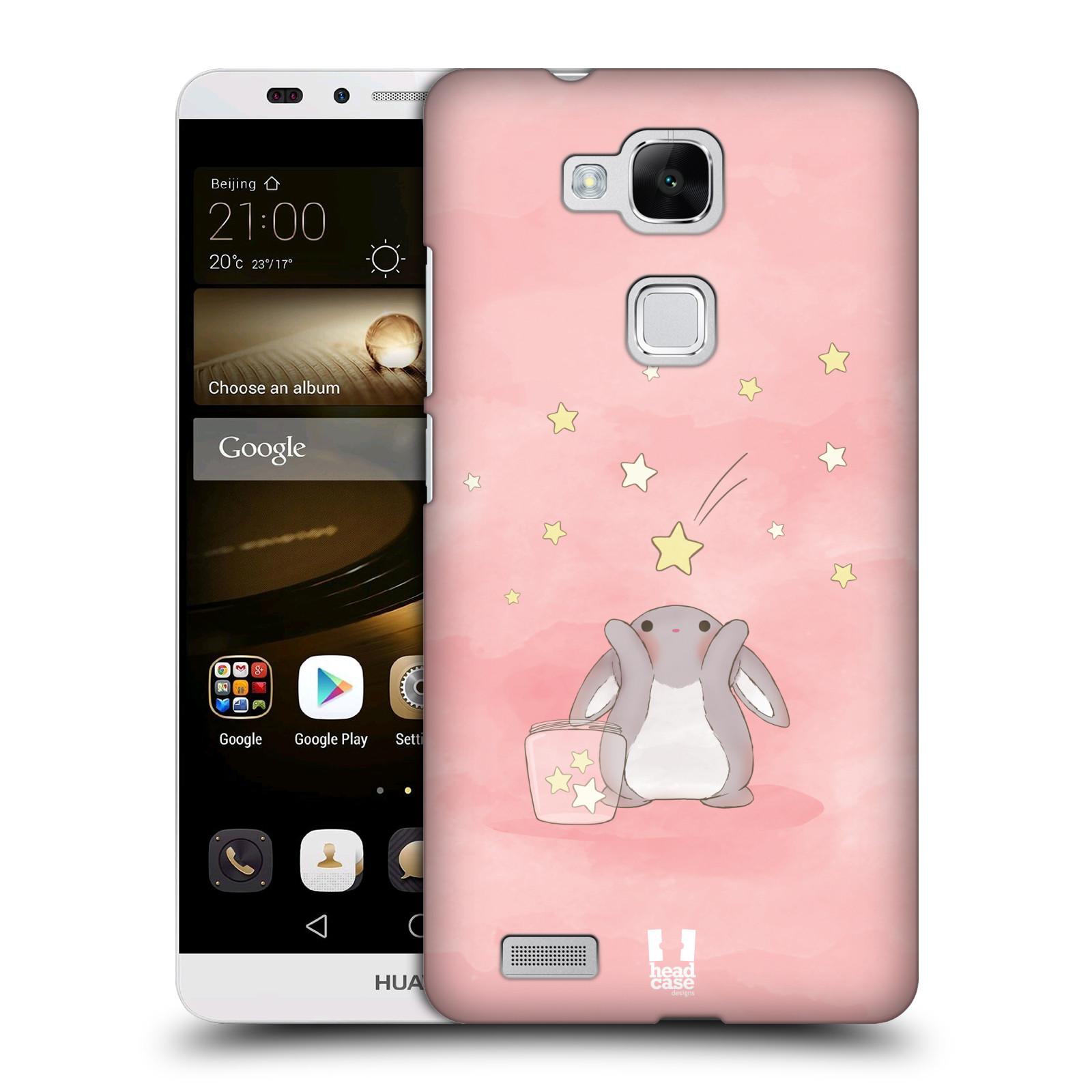 HEAD CASE plastový obal na mobil Huawei Mate 7 vzor králíček a hvězdy růžová