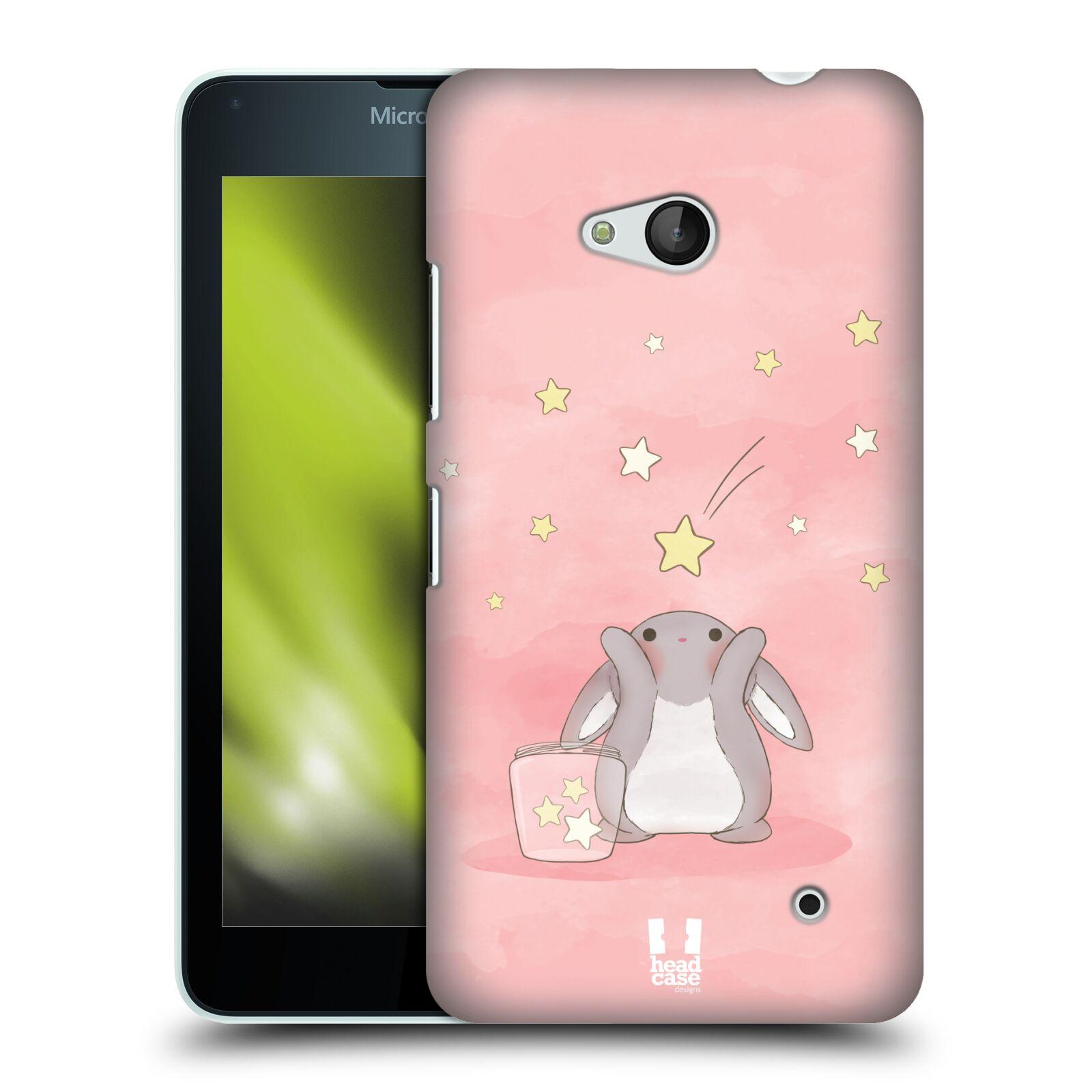 HEAD CASE plastový obal na mobil Nokia Lumia 640 vzor králíček a hvězdy růžová