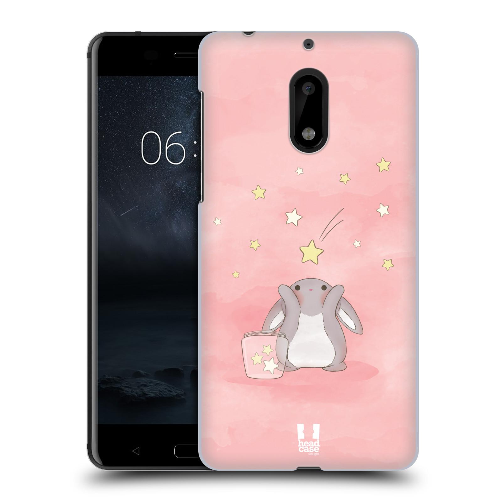 HEAD CASE plastový obal na mobil Nokia 6 vzor králíček a hvězdy růžová