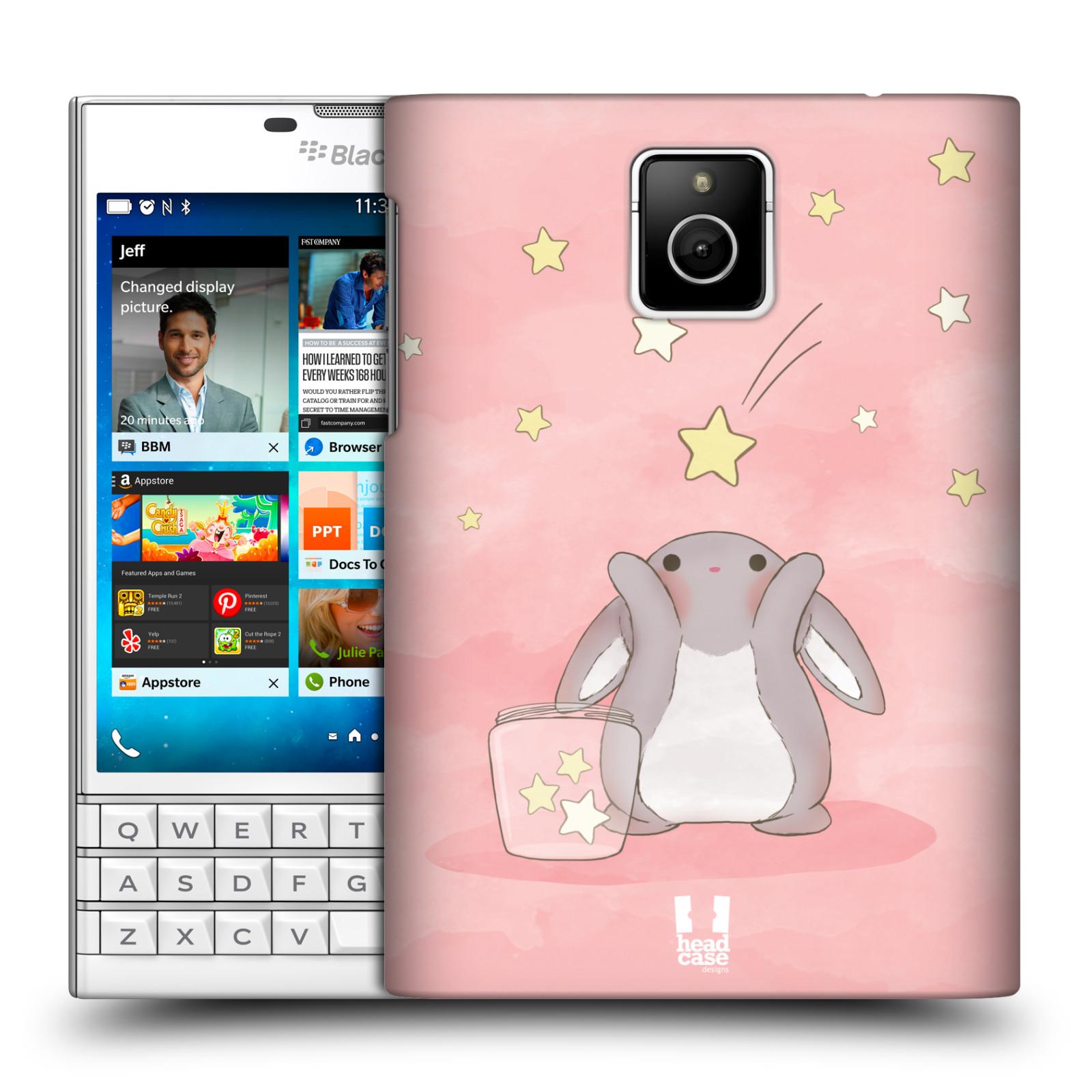 HEAD CASE plastový obal na mobil BlackBerry Passport vzor králíček a hvězdy růžová