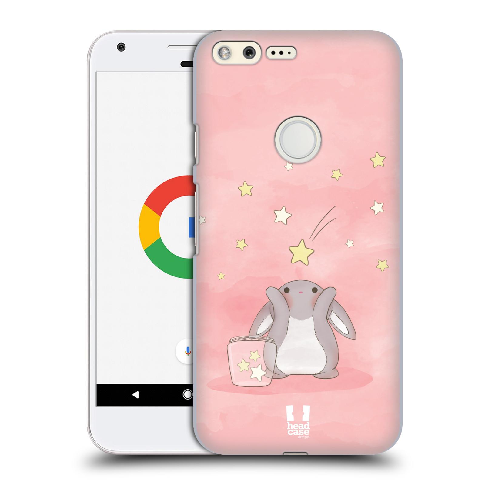 HEAD CASE plastový obal na mobil GOOGLE Pixel vzor králíček a hvězdy růžová