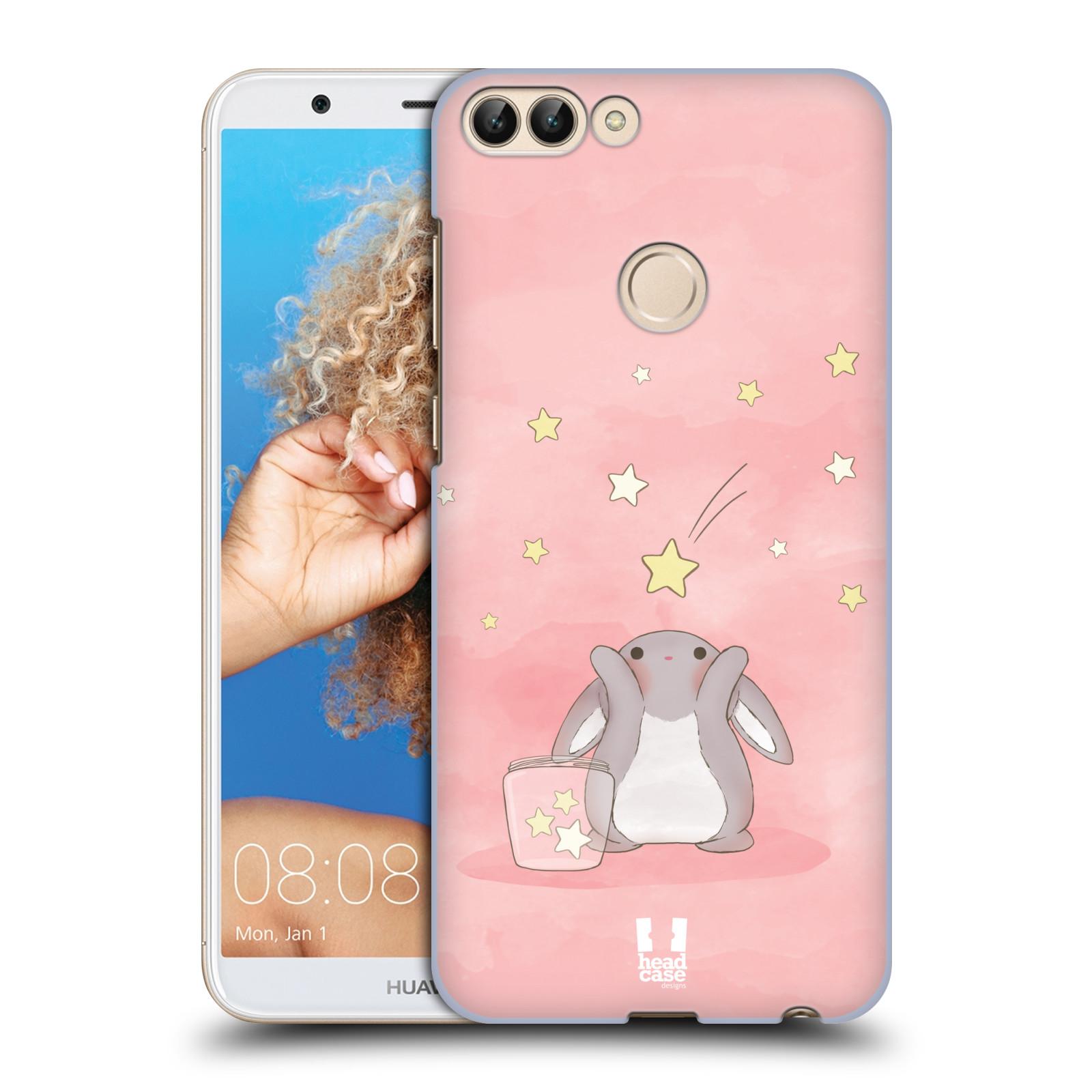 HEAD CASE plastový obal na mobil Huawei P Smart vzor králíček a hvězdy růžová