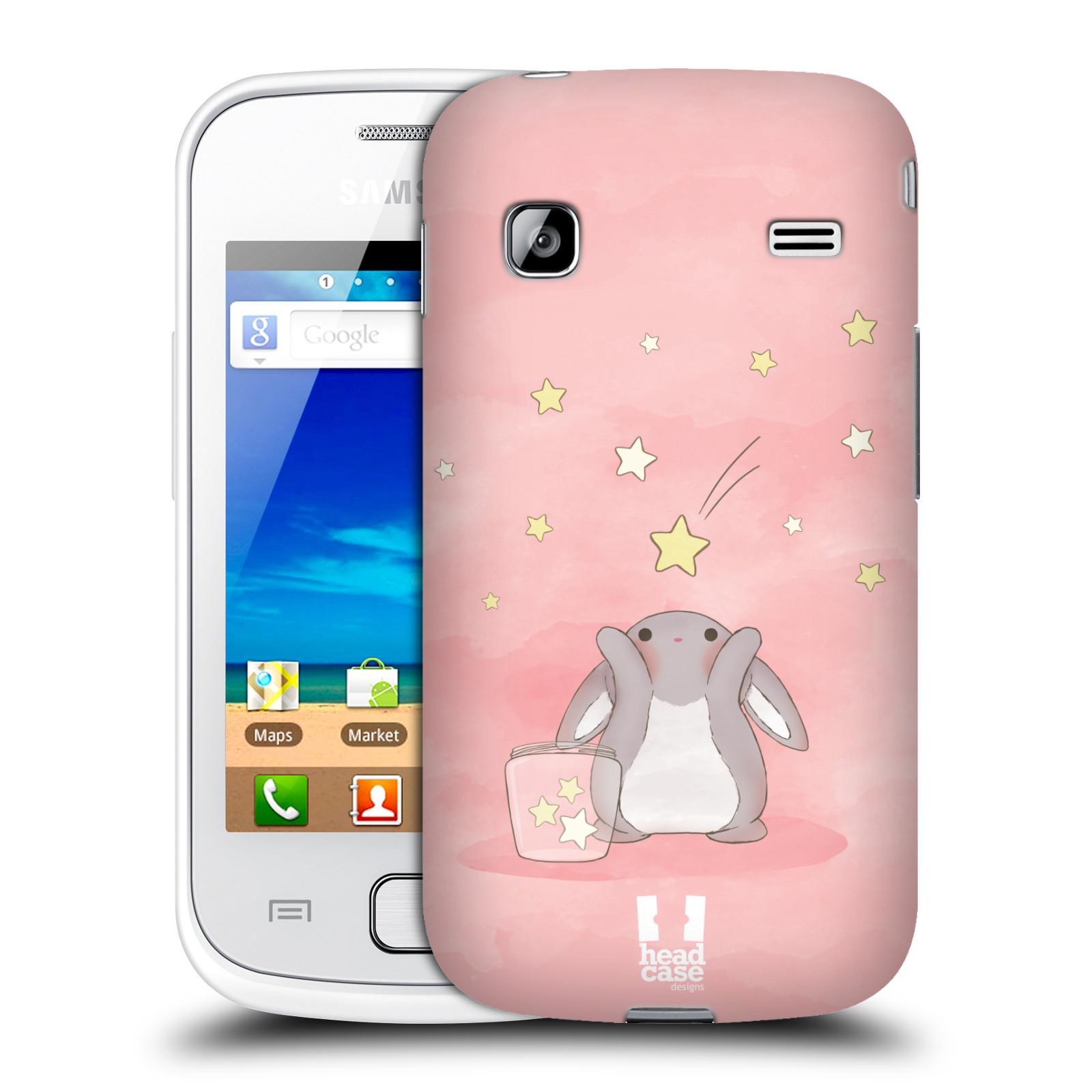 HEAD CASE plastový obal na mobil SAMSUNG GALAXY GIO (S5660) vzor králíček a hvězdy růžová
