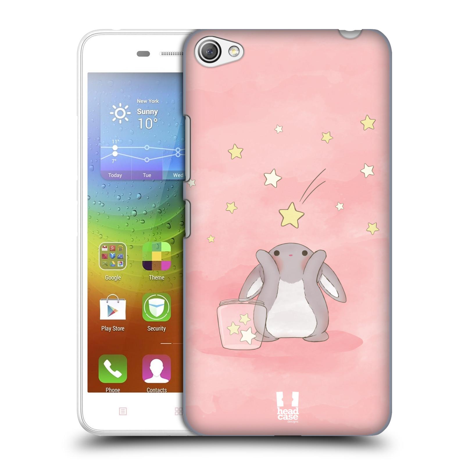HEAD CASE pevný plastový obal na mobil LENOVO S60 / LENOVO S60 DUAL SIM vzor králíček a hvězdy růžová