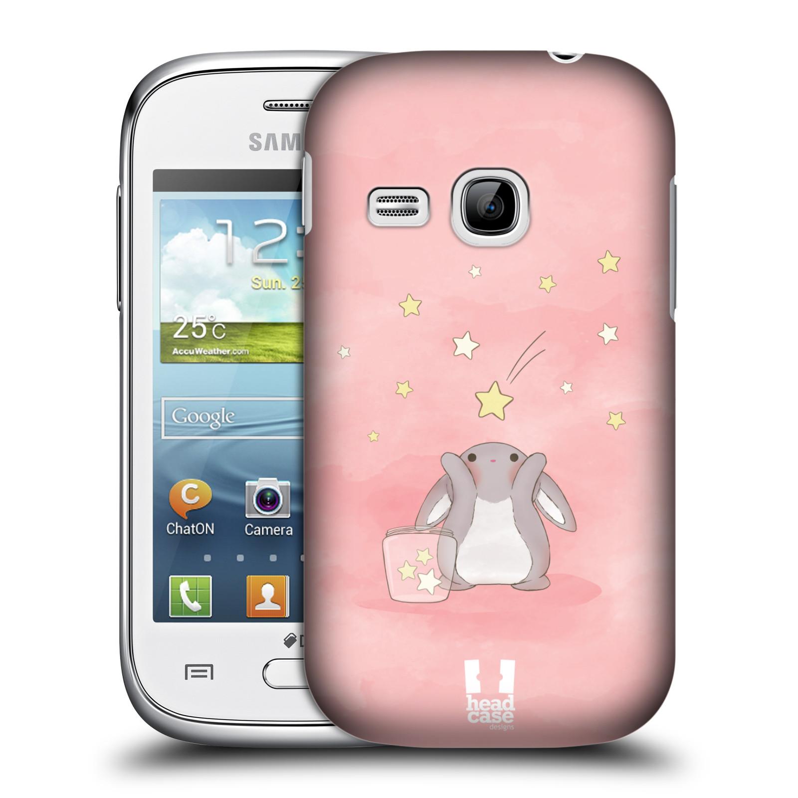 HEAD CASE plastový obal na mobil SAMSUNG Galaxy Young S6310 vzor králíček a hvězdy růžová