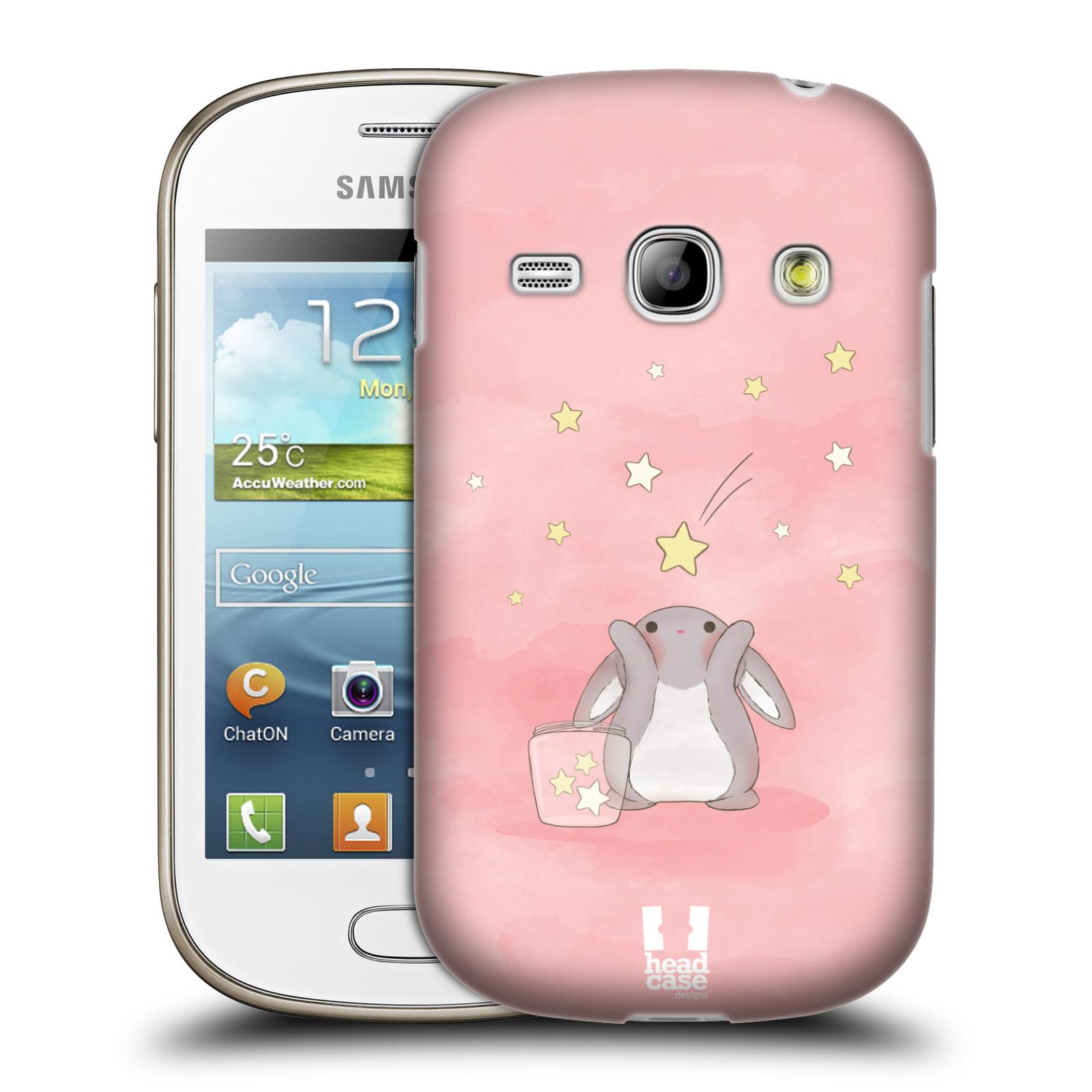 HEAD CASE plastový obal na mobil SAMSUNG GALAXY FAME (S6810) vzor králíček a hvězdy růžová