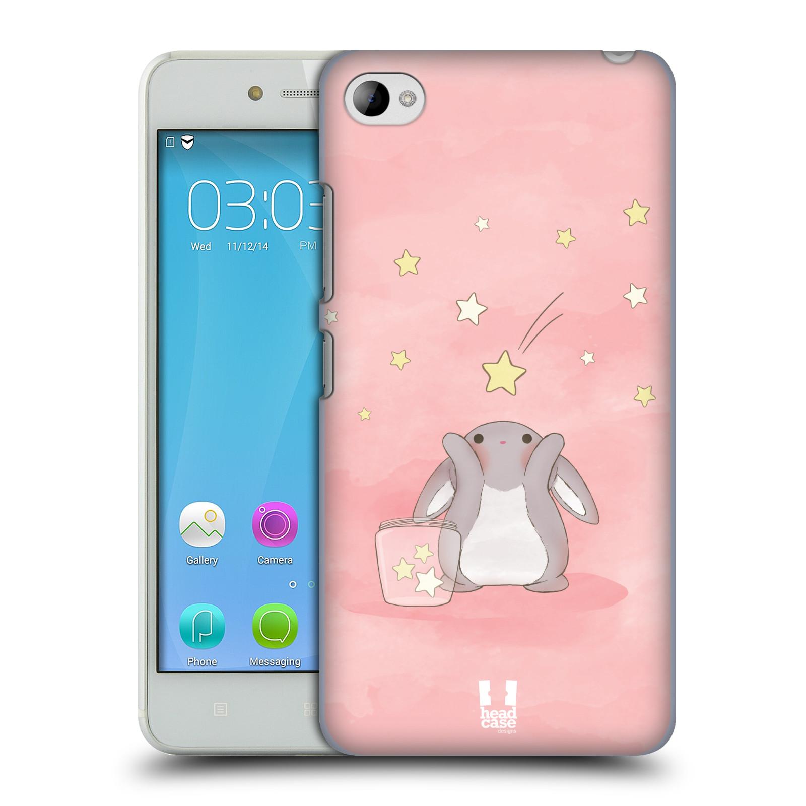 HEAD CASE pevný plastový obal na mobil LENOVO S90 vzor králíček a hvězdy růžová
