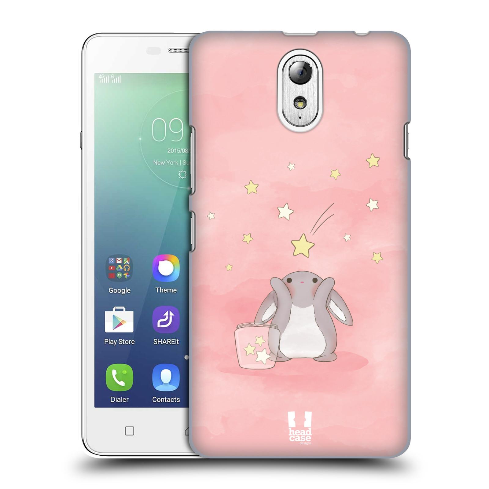 HEAD CASE pevný plastový obal na mobil LENOVO VIBE P1m / LENOVO VIBE p1m DUAL SIM vzor králíček a hvězdy růžová