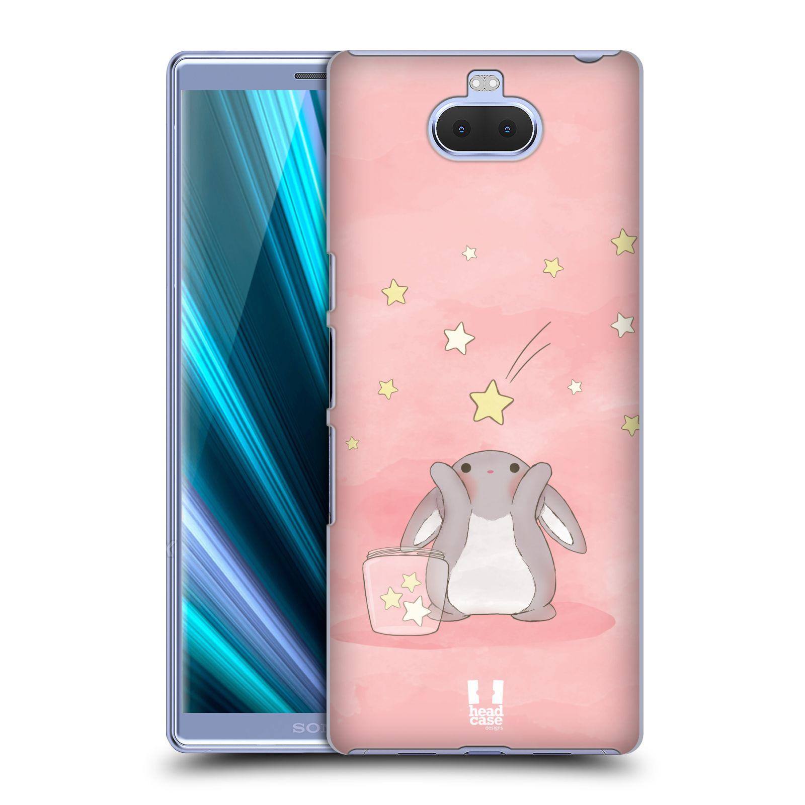 Pouzdro na mobil Sony Xperia 10 - Head Case - vzor králíček a hvězdy růžová