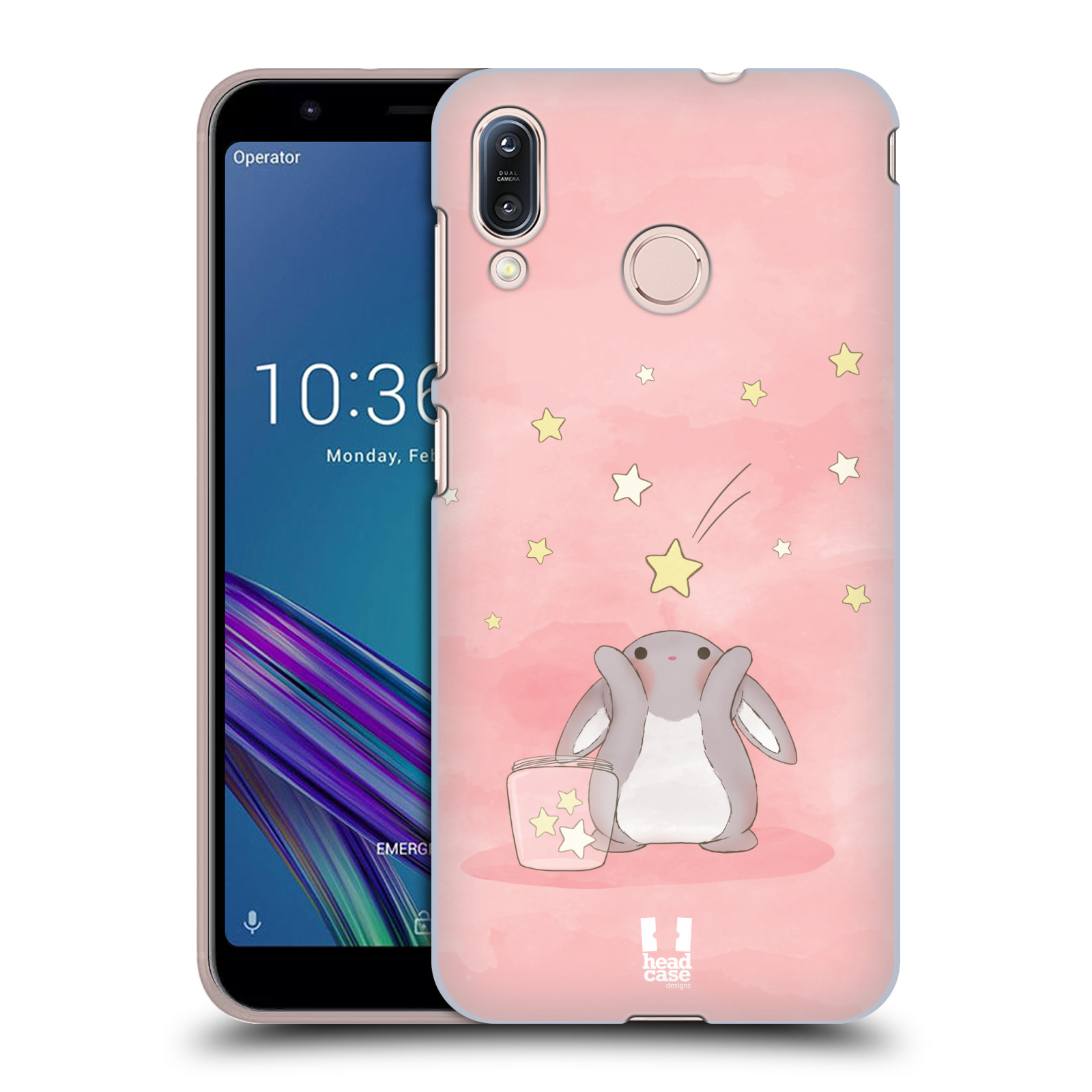 Pouzdro na mobil Asus Zenfone Max M1 (ZB555KL) - HEAD CASE - vzor králíček a hvězdy růžová