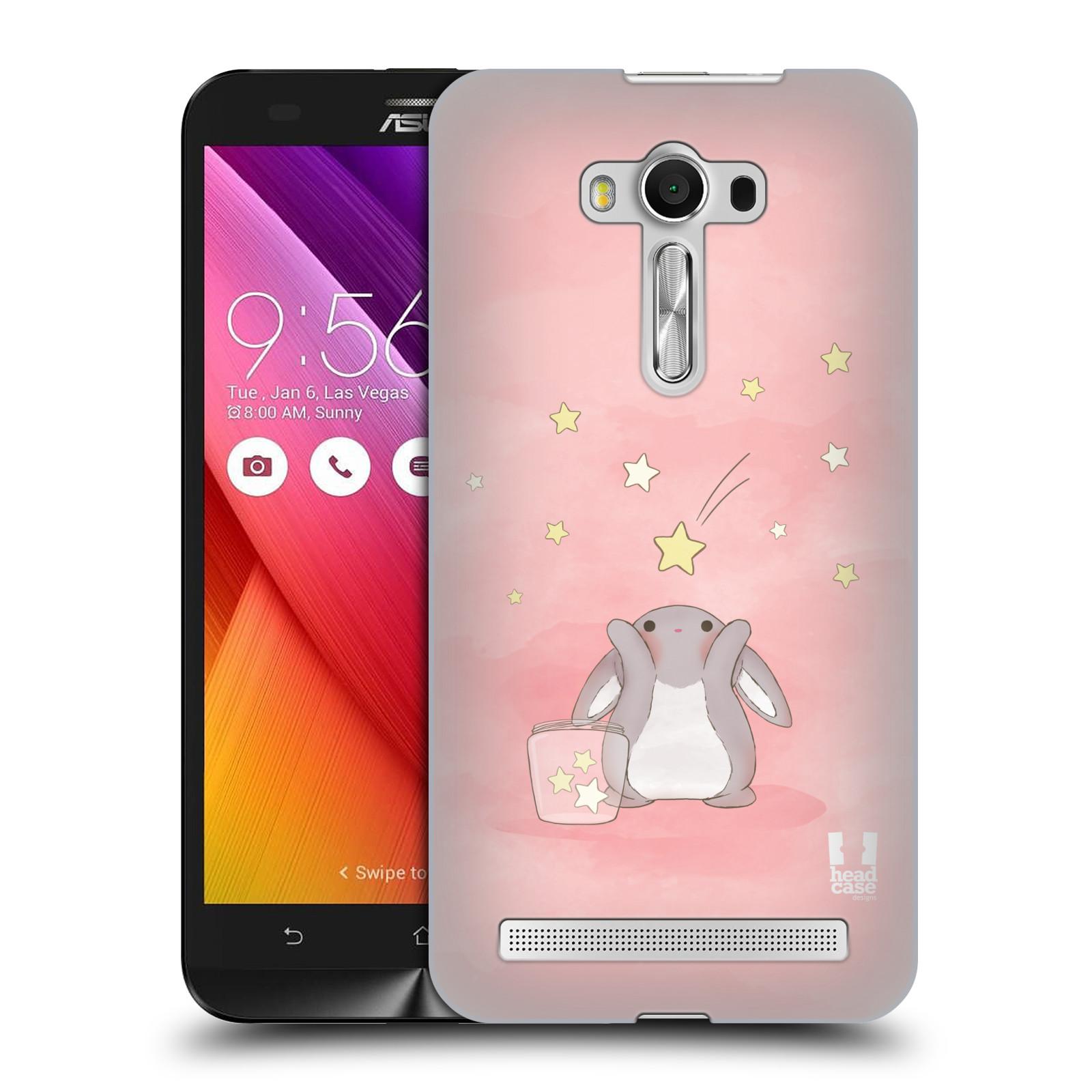 HEAD CASE plastový obal na mobil Asus Zenfone 2 LASER (5,5 displej ZE550KL) vzor králíček a hvězdy růžová