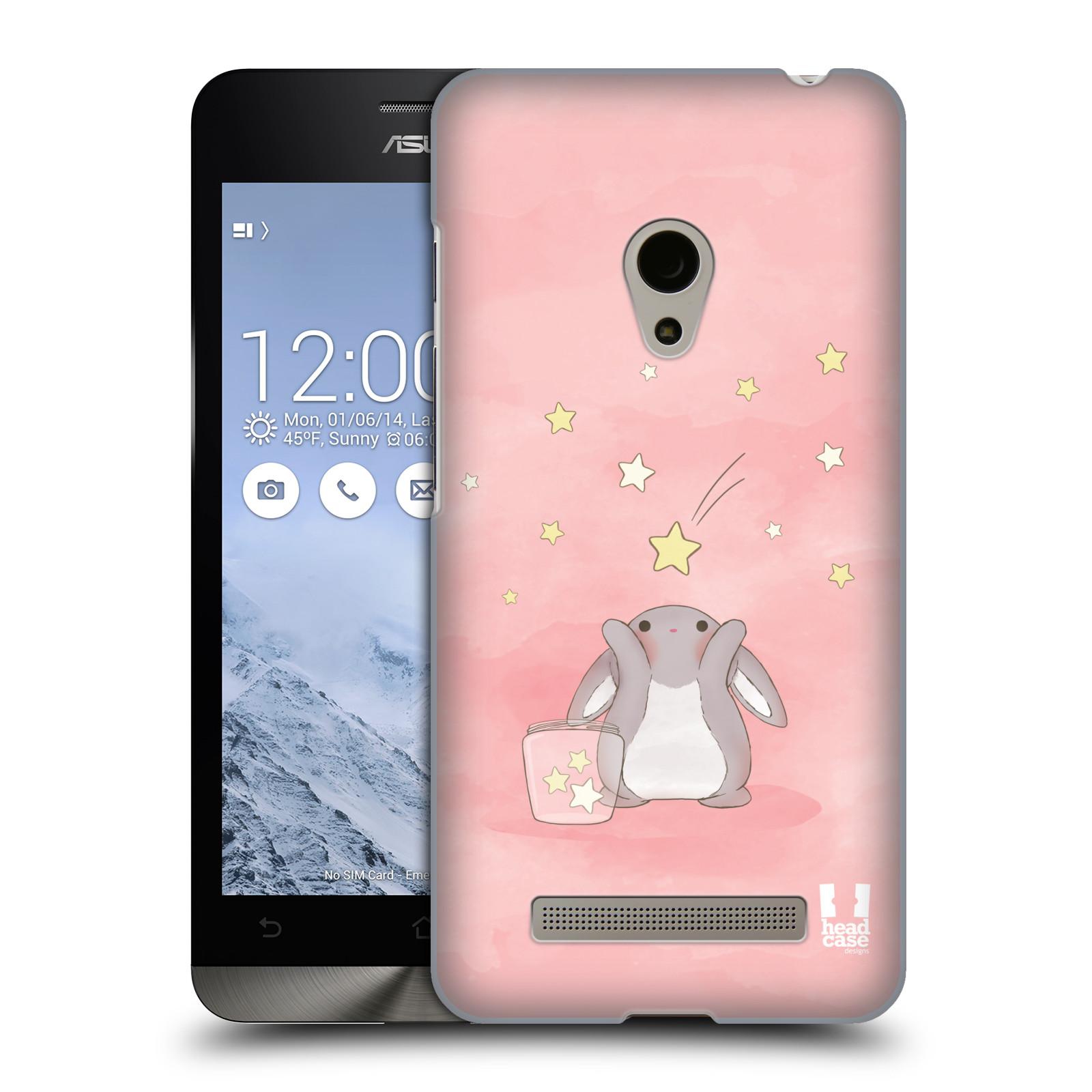 HEAD CASE plastový obal na mobil Asus Zenfone 5 vzor králíček a hvězdy růžová