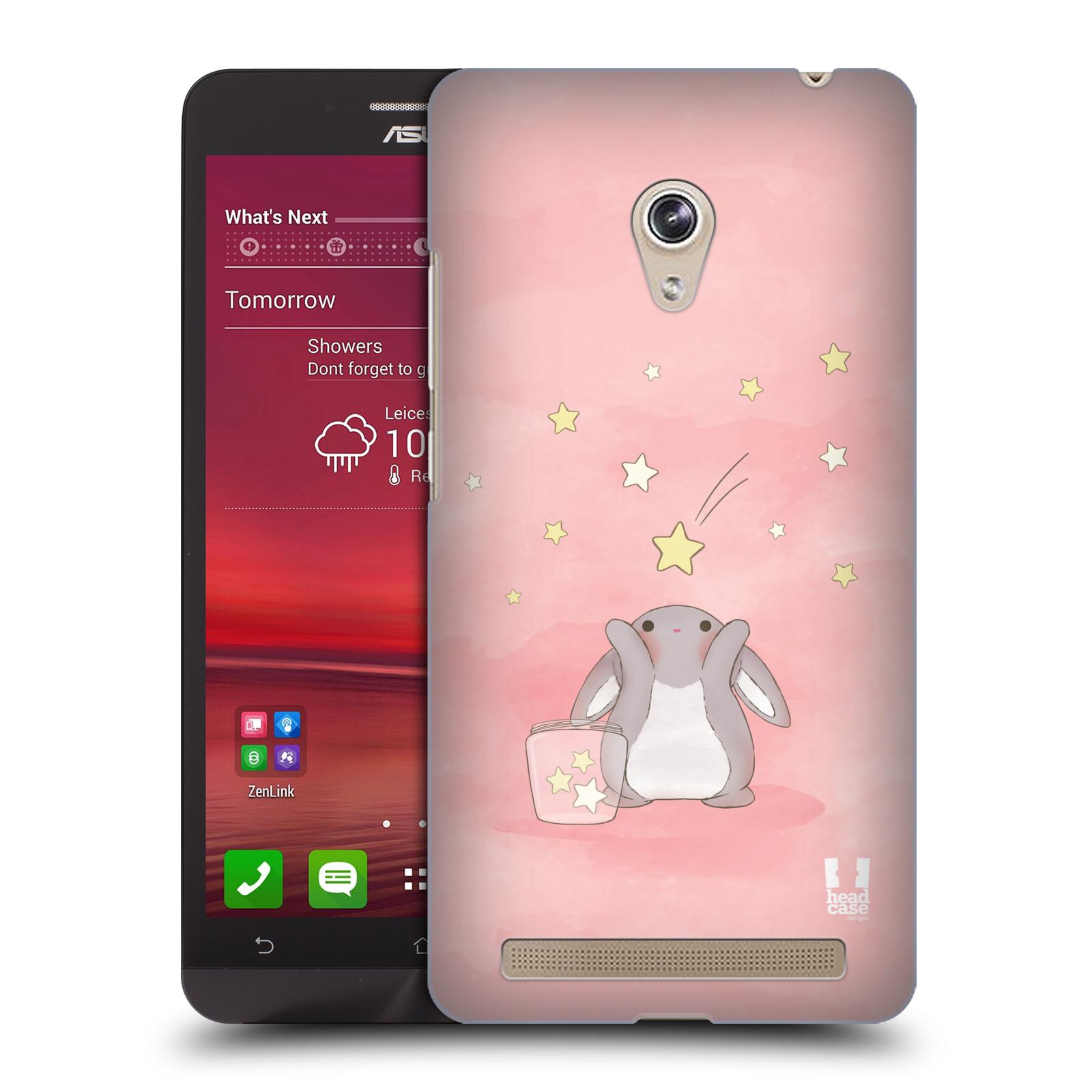 HEAD CASE plastový obal na mobil Asus Zenfone 6 vzor králíček a hvězdy růžová