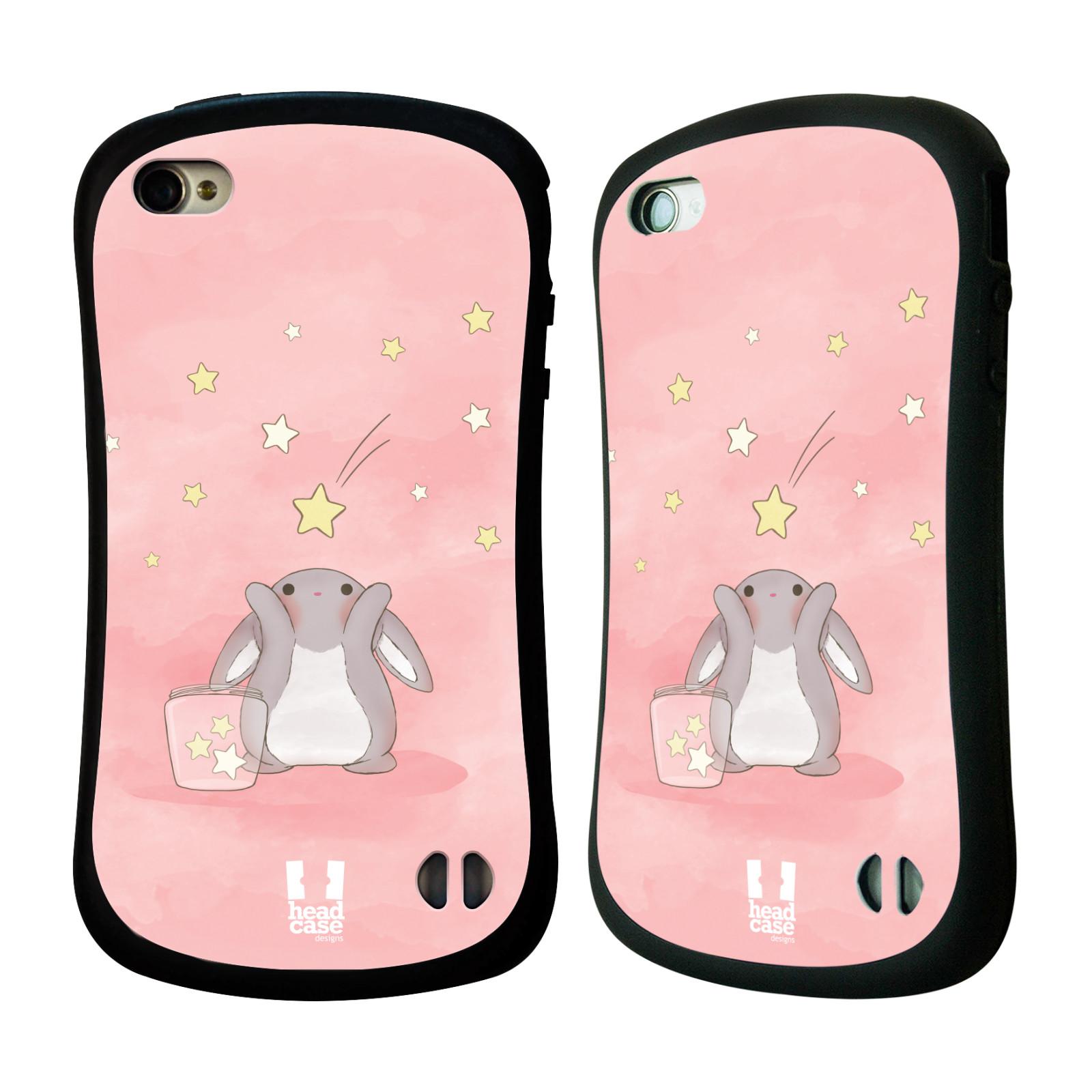 HEAD CASE silikon/plast odolný obal na mobil Apple Iphone 4/4S vzor králíček a hvězdy růžová