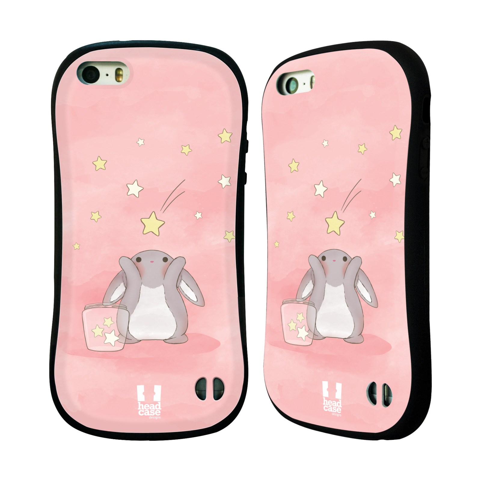 HEAD CASE silikon/plast odolný obal na mobil Apple Iphone 5/5S vzor králíček a hvězdy růžová