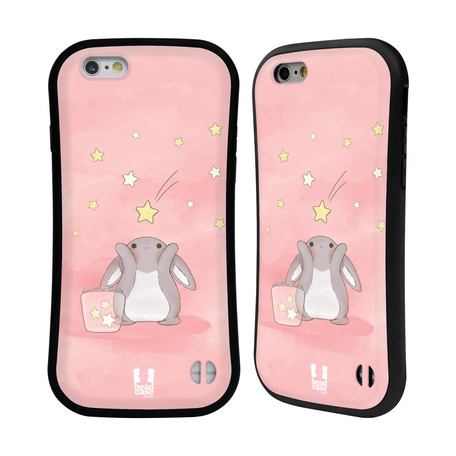 HEAD CASE silikon/plast odolný obal na mobil Apple Iphone 6/6S vzor králíček a hvězdy růžová