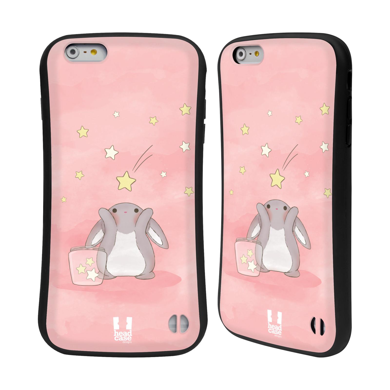 HEAD CASE silikon/plast odolný obal na mobil Apple Iphone 6 PLUS / 6S PLUS vzor králíček a hvězdy růžová