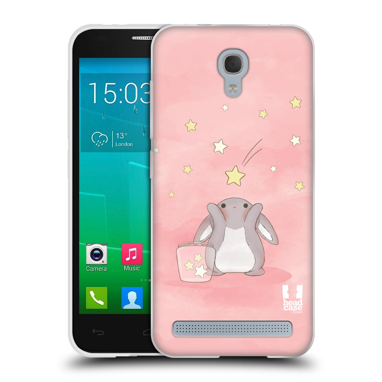 HEAD CASE silikonový obal na mobil Alcatel Idol 2 MINI S 6036Y vzor králíček a hvězdy růžová