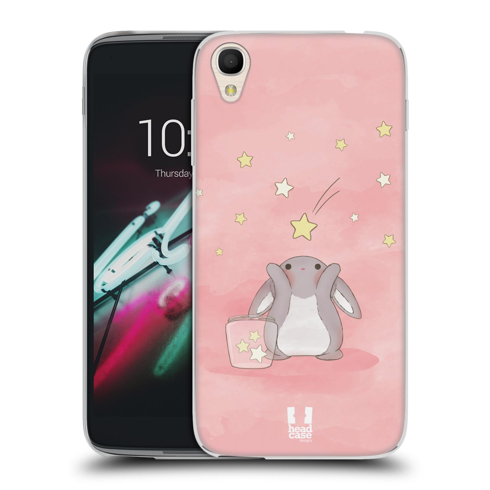 HEAD CASE silikonový obal na mobil Alcatel Idol 3 OT-6039Y (4.7) vzor králíček a hvězdy růžová