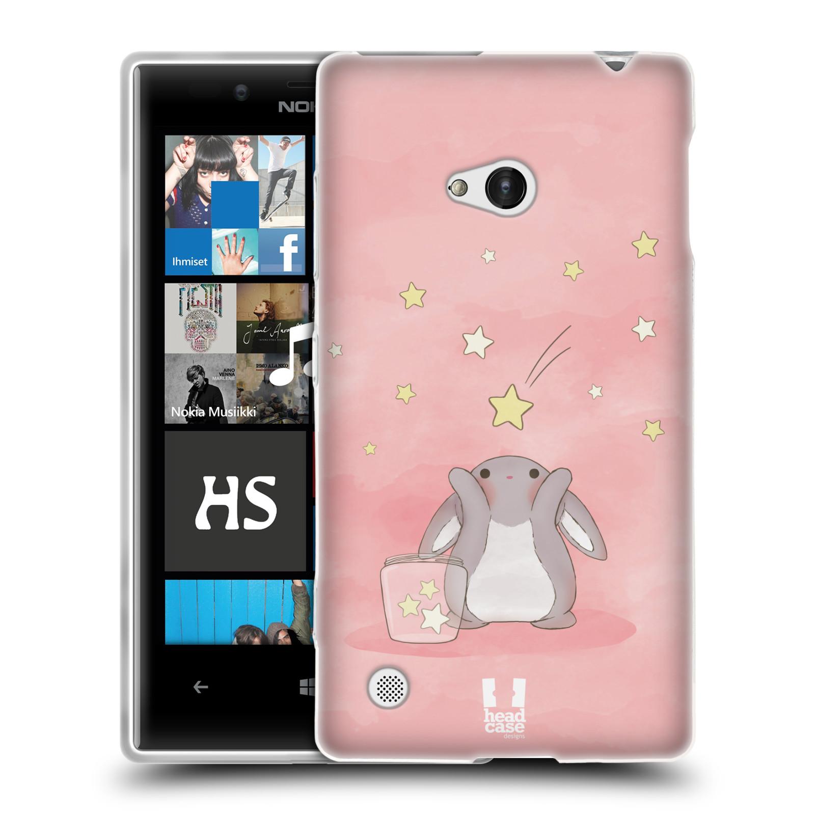 HEAD CASE silikonový obal na mobil NOKIA Lumia 720 vzor králíček a hvězdy růžová
