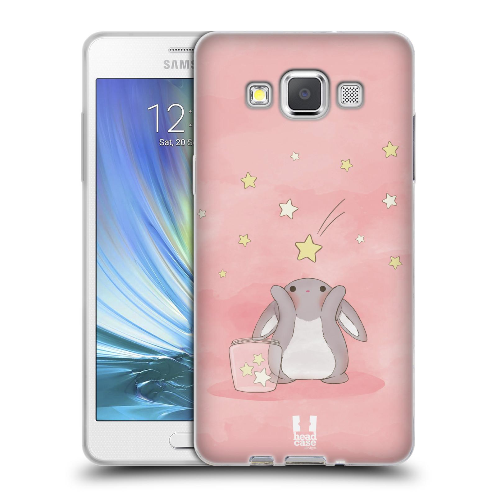 HEAD CASE silikonový obal na mobil Samsung Galaxy A5 vzor králíček a hvězdy růžová