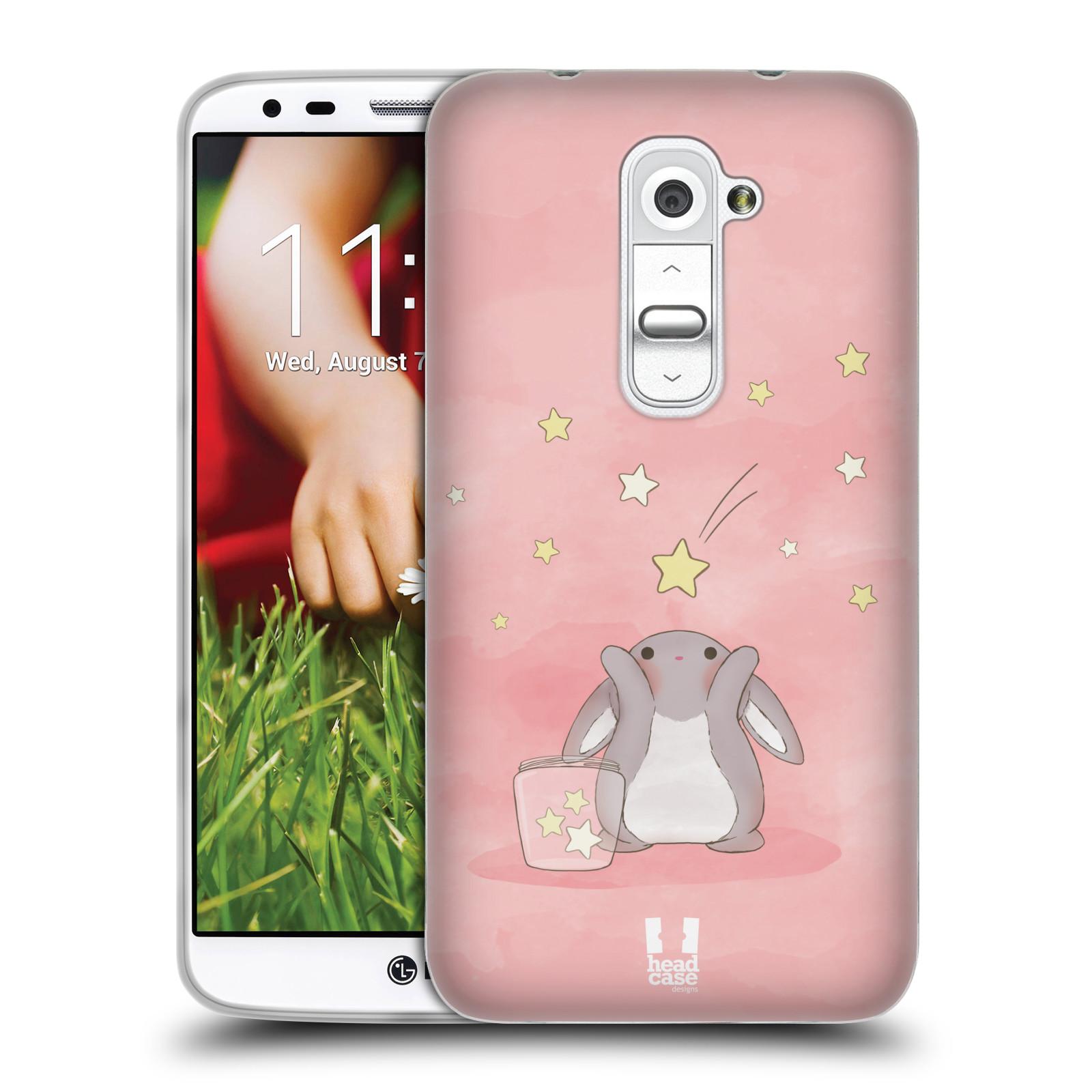 HEAD CASE silikonový obal na mobil LG G2 vzor králíček a hvězdy růžová