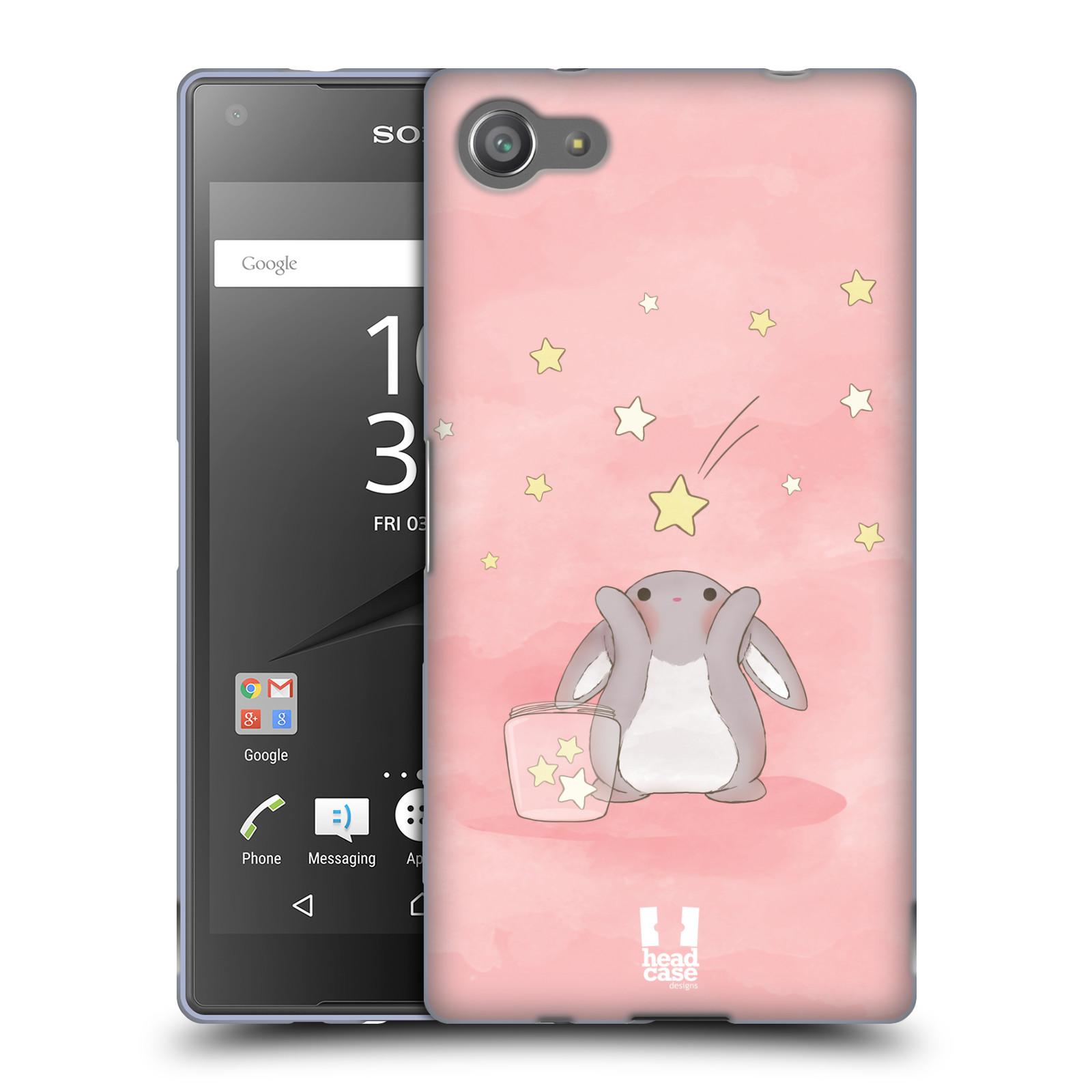 HEAD CASE silikonový obal na mobil Sony Xperia Z5 COMPACT vzor králíček a hvězdy růžová