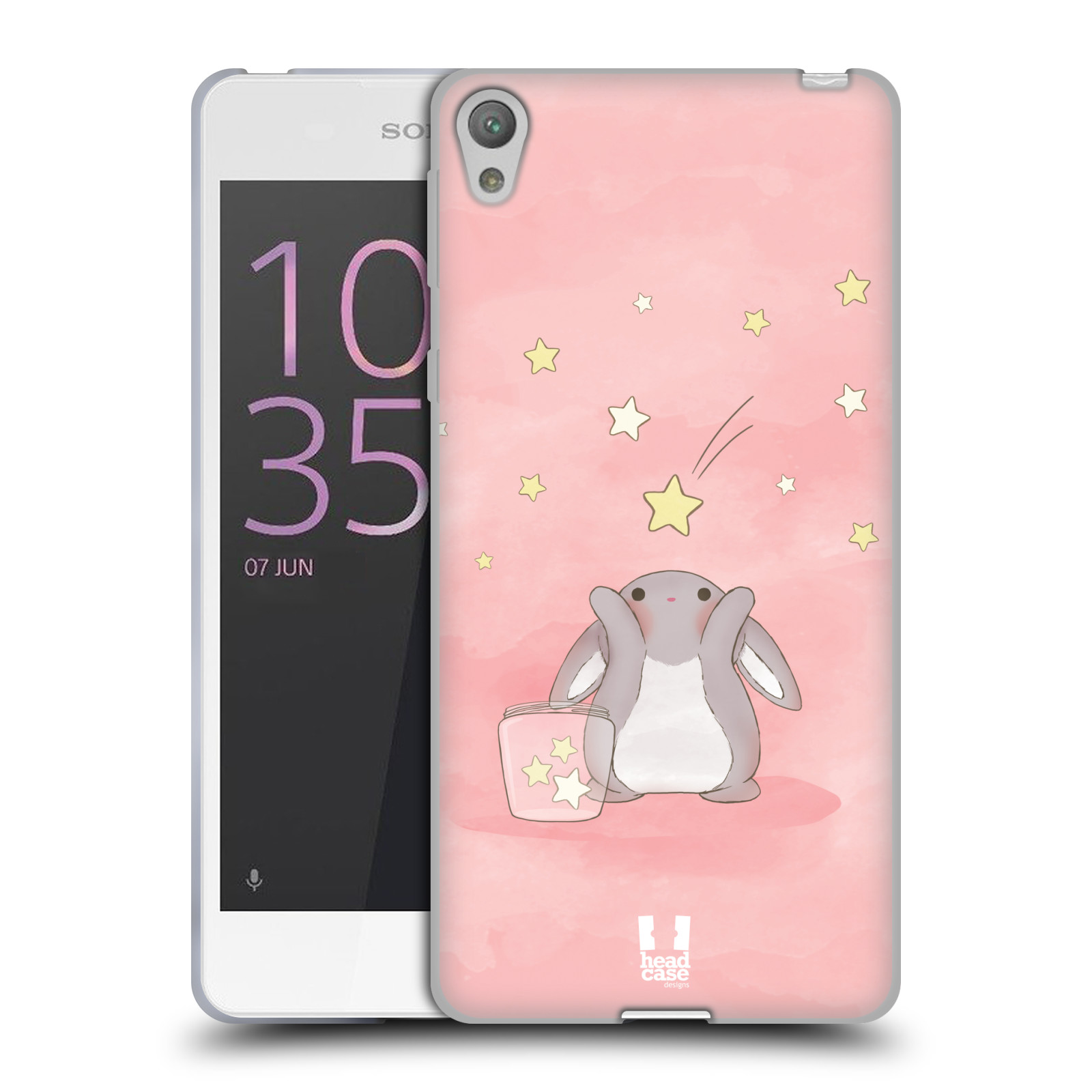 HEAD CASE silikonový obal na mobil SONY XPERIA E5 vzor králíček a hvězdy růžová