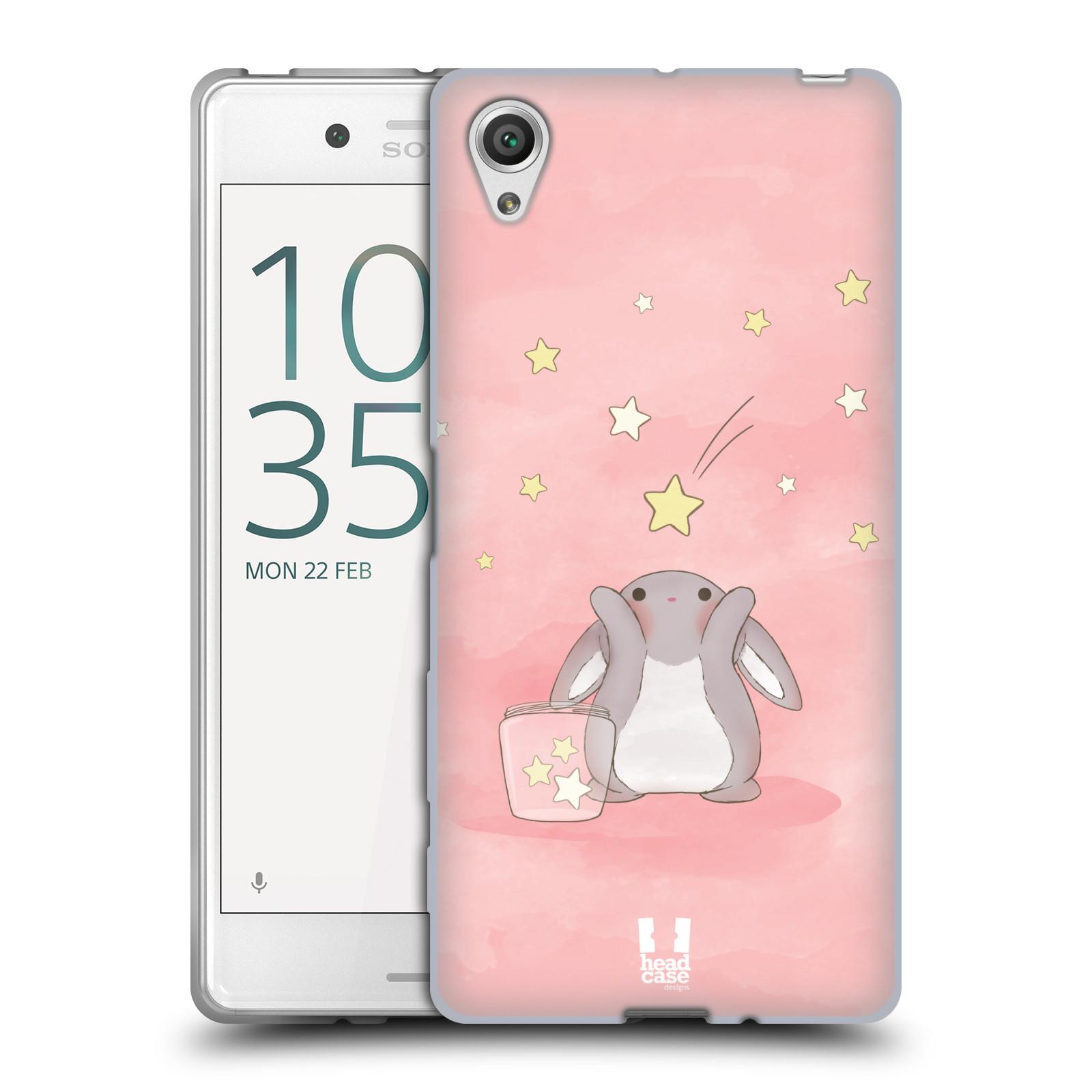 HEAD CASE silikonový obal na mobil Sony Xperia X / X DUAL vzor králíček a hvězdy růžová