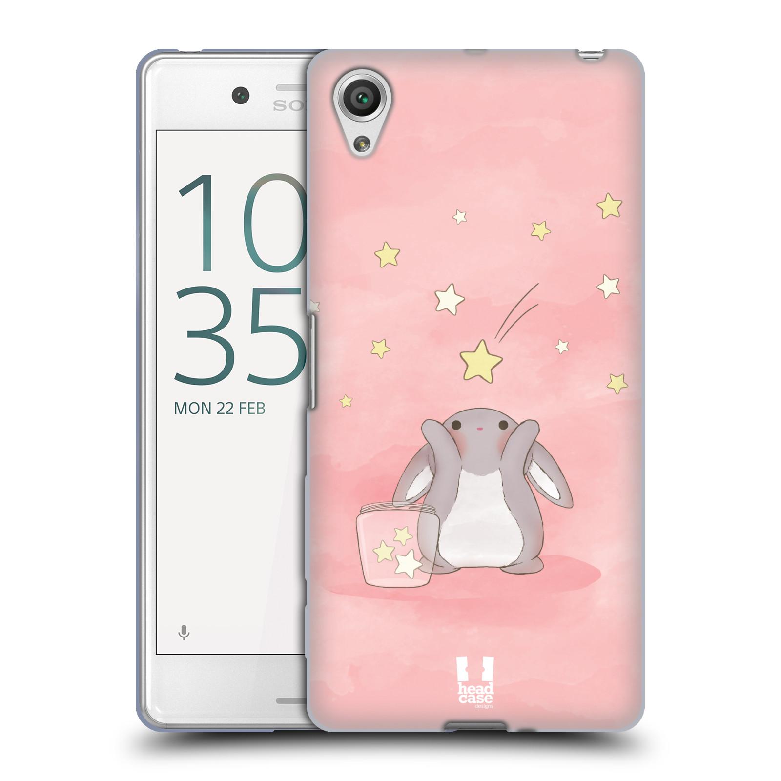 HEAD CASE silikonový obal na mobil Sony Xperia X PERFORMANCE (F8131, F8132) vzor králíček a hvězdy růžová