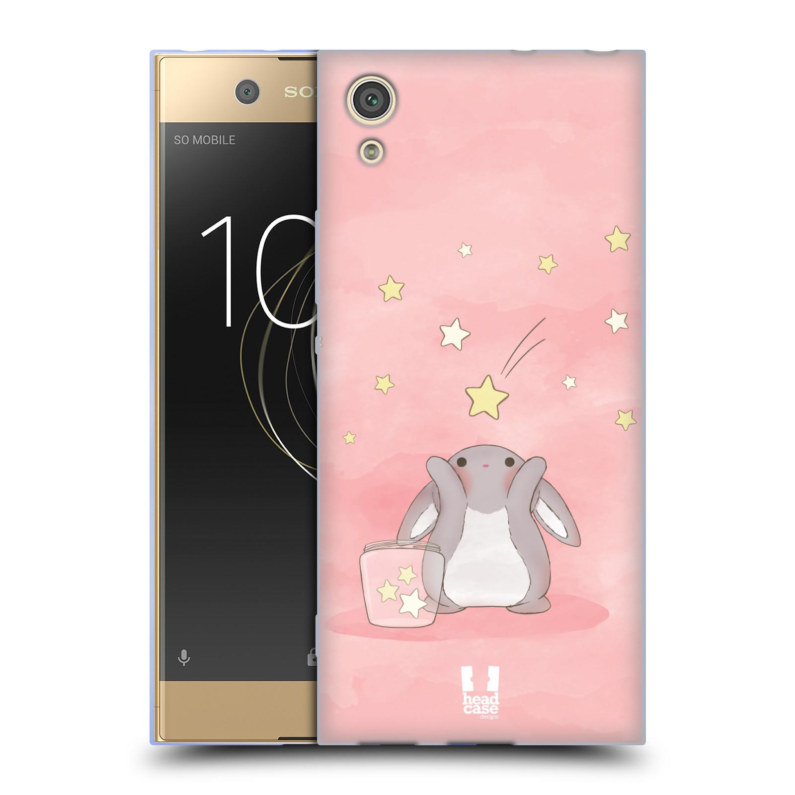 HEAD CASE silikonový obal na mobil Sony Xperia XA1 / XA1 DUAL SIM vzor králíček a hvězdy růžová
