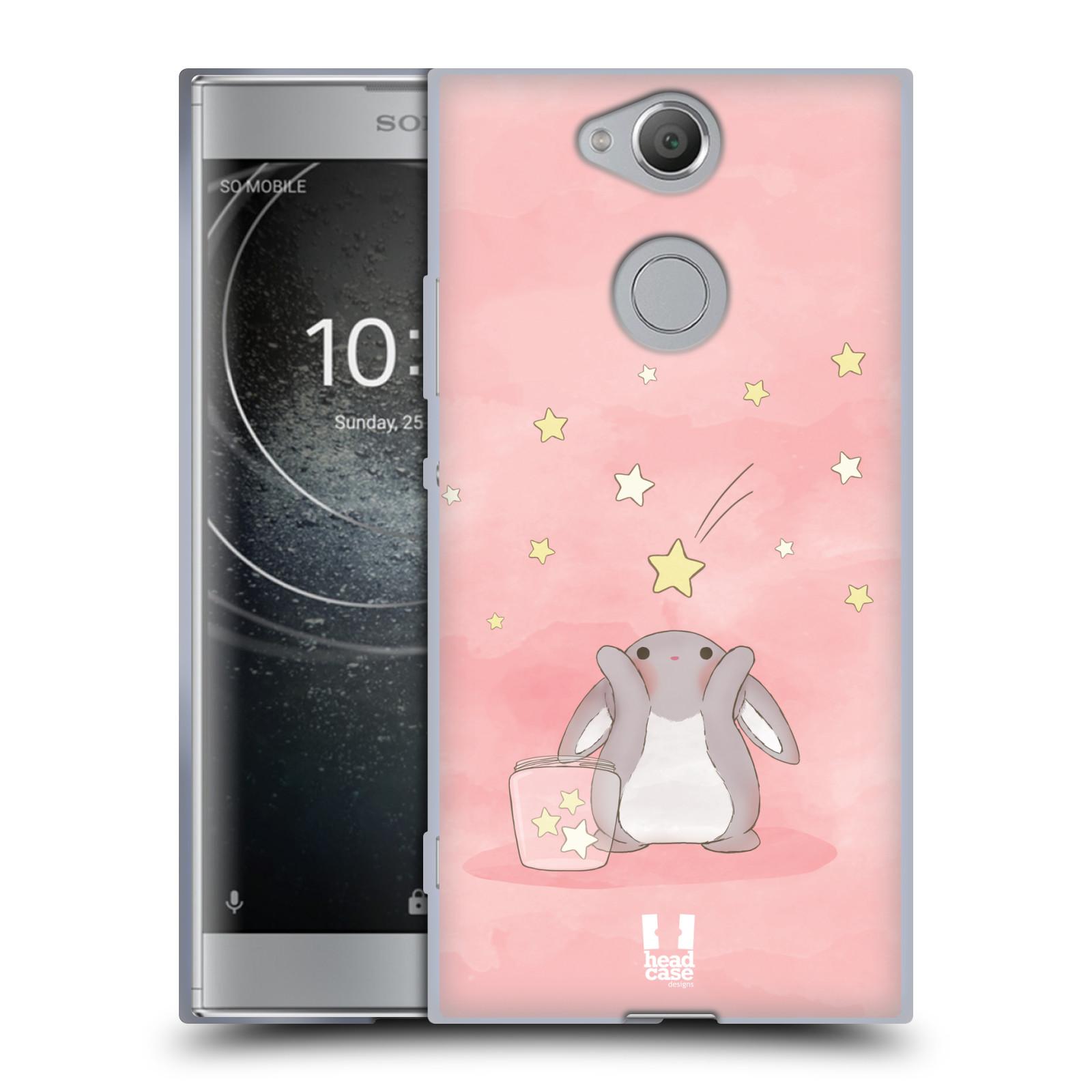 Pouzdro na mobil Sony Xperia XA2 (DUAL SIM, SINGLE SIM) vzor králíček a hvězdy růžová