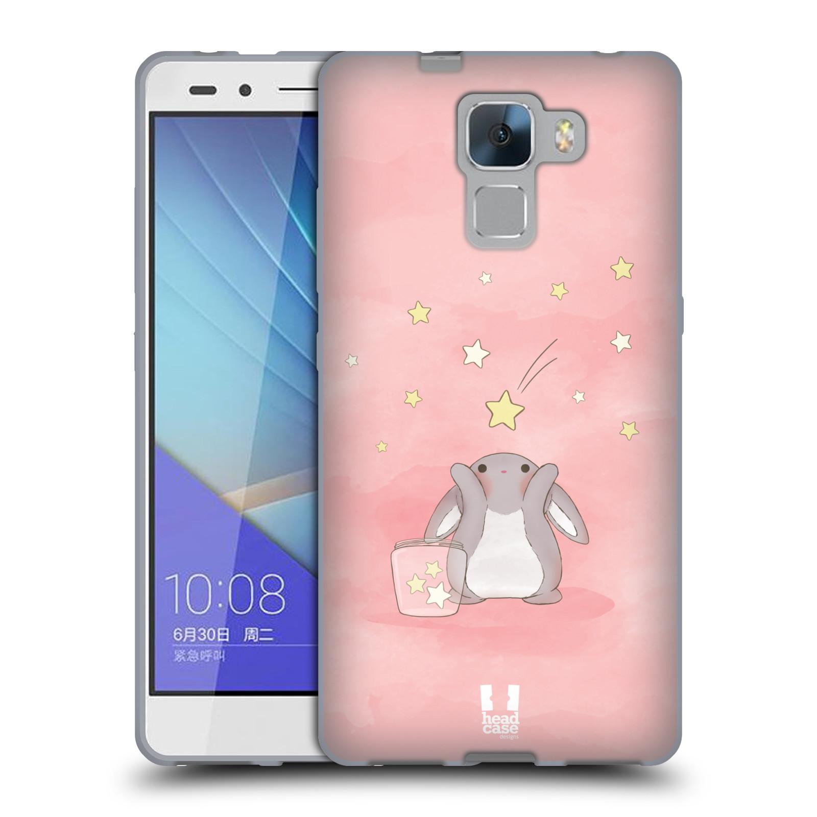 HEAD CASE silikonový obal na mobil HUAWEI HONOR 7 vzor králíček a hvězdy růžová