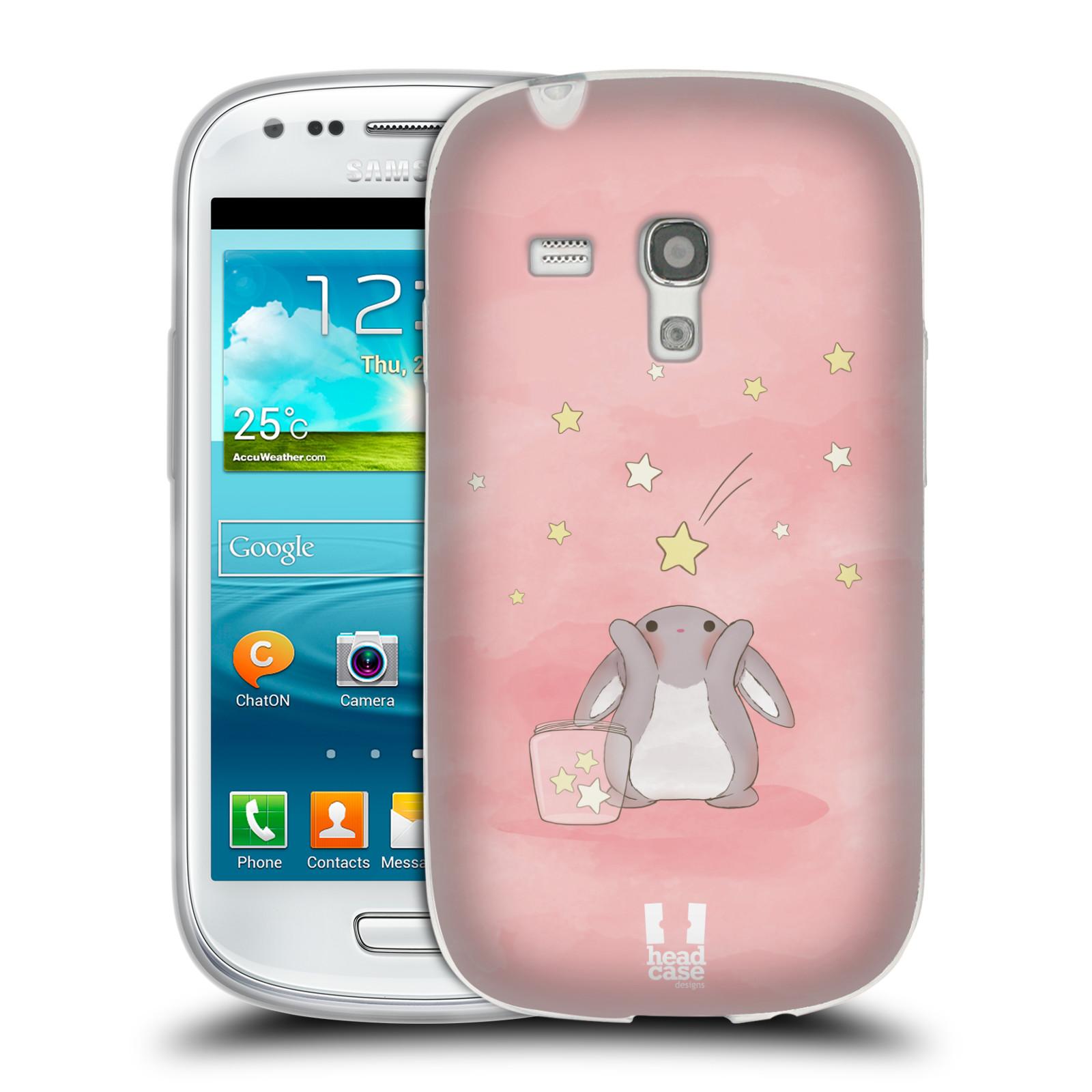 HEAD CASE silikonový obal na mobil Samsung Galaxy S3 MINI i8190 vzor králíček a hvězdy růžová