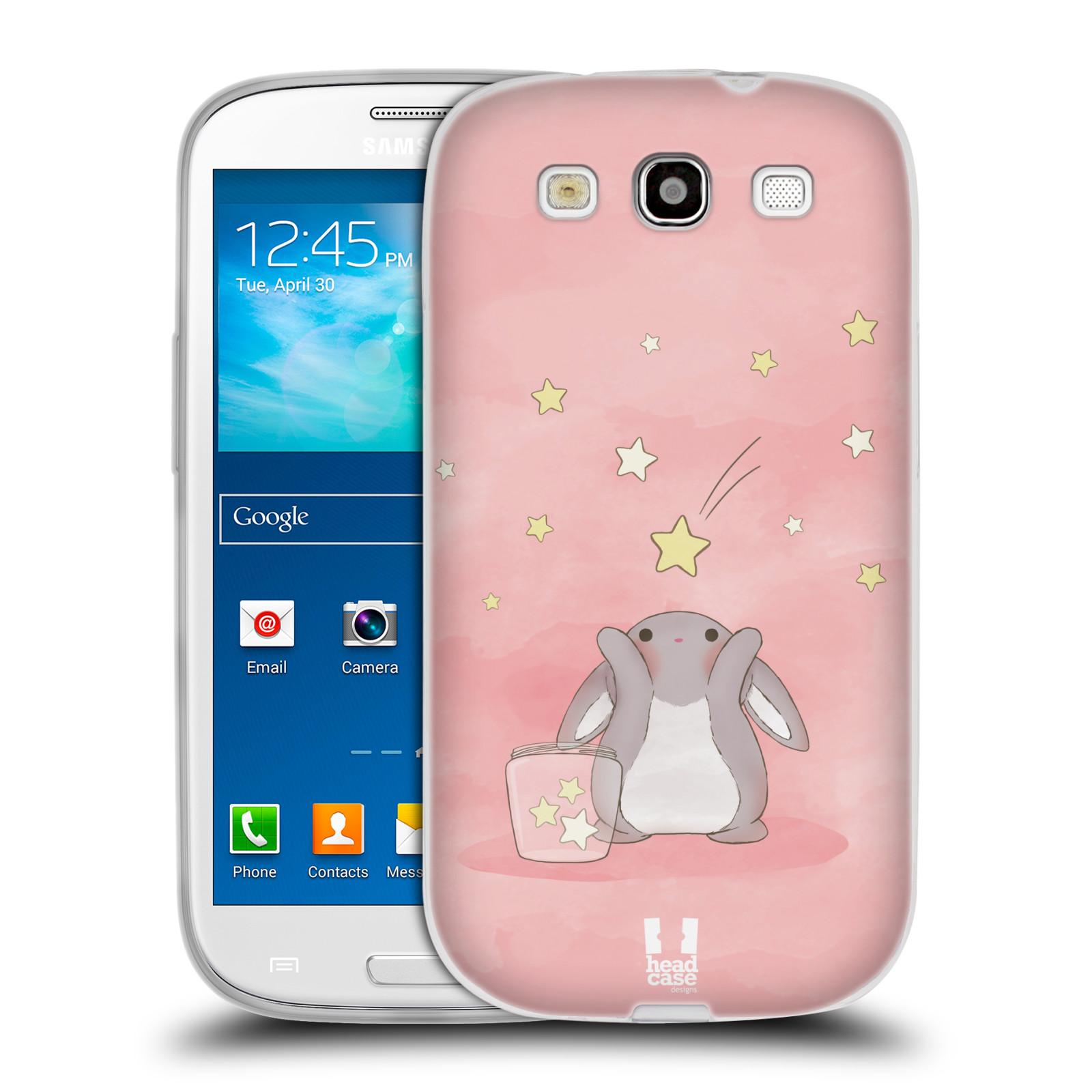 HEAD CASE silikonový obal na mobil Samsung Galaxy S3 i9300 vzor králíček a hvězdy růžová