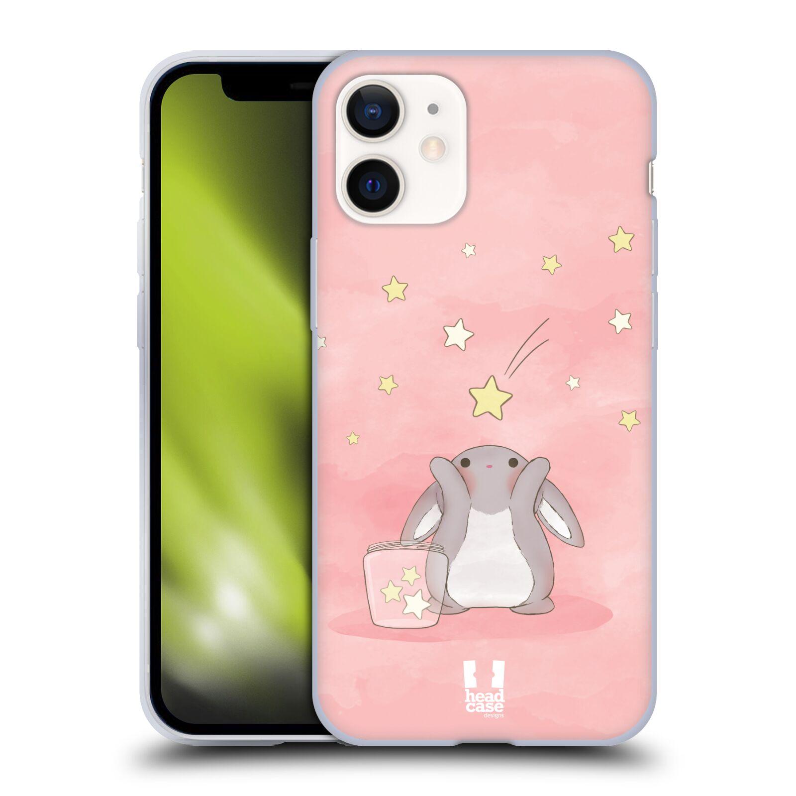Plastový obal na mobil Apple Iphone 12 MINI vzor králíček a hvězdy růžová