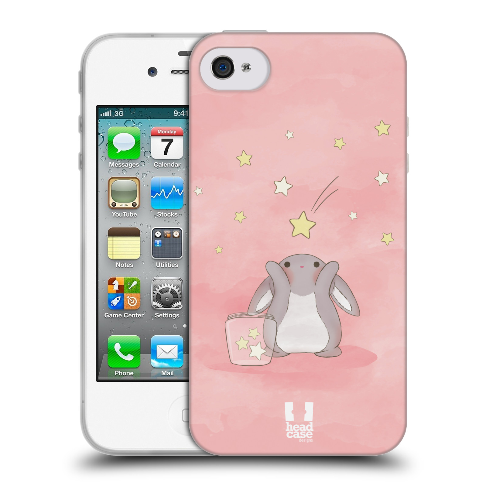 HEAD CASE silikonový obal na mobil Apple Iphone 4/4S vzor králíček a hvězdy růžová