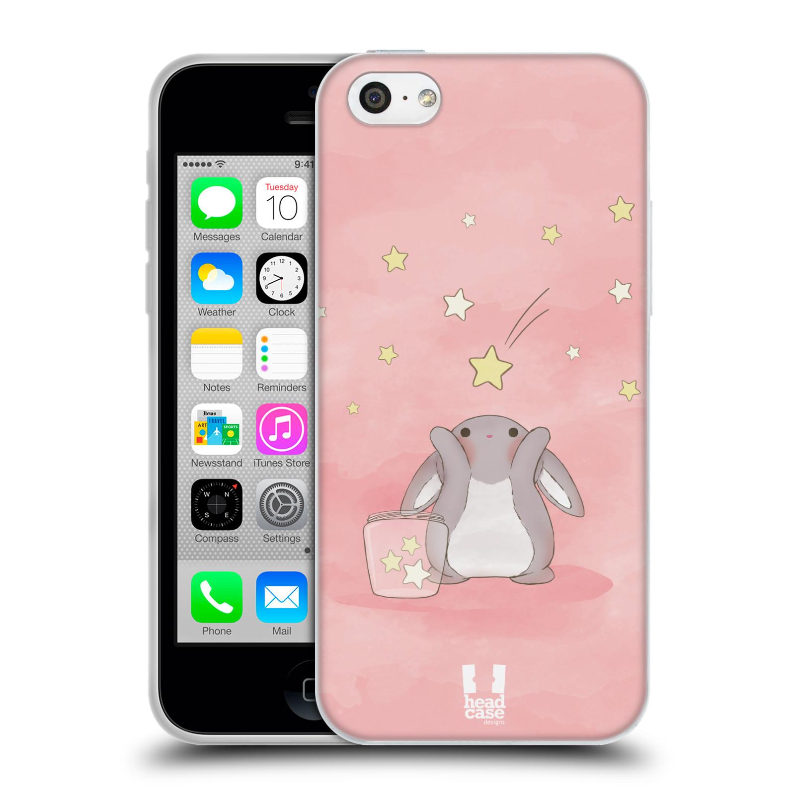HEAD CASE silikonový obal na mobil Apple Iphone 5C vzor králíček a hvězdy růžová