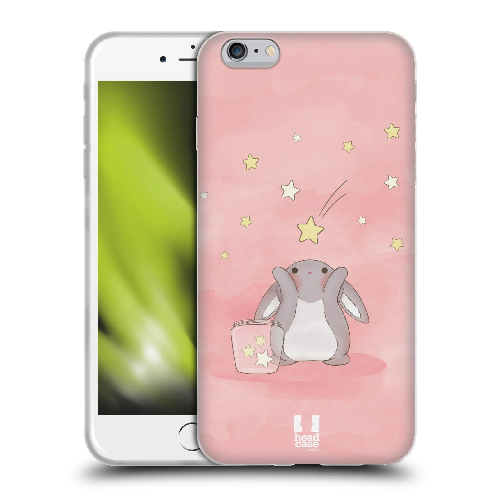 HEAD CASE silikonový obal na mobil Apple Iphone 6 PLUS/ 6S PLUS vzor králíček a hvězdy růžová