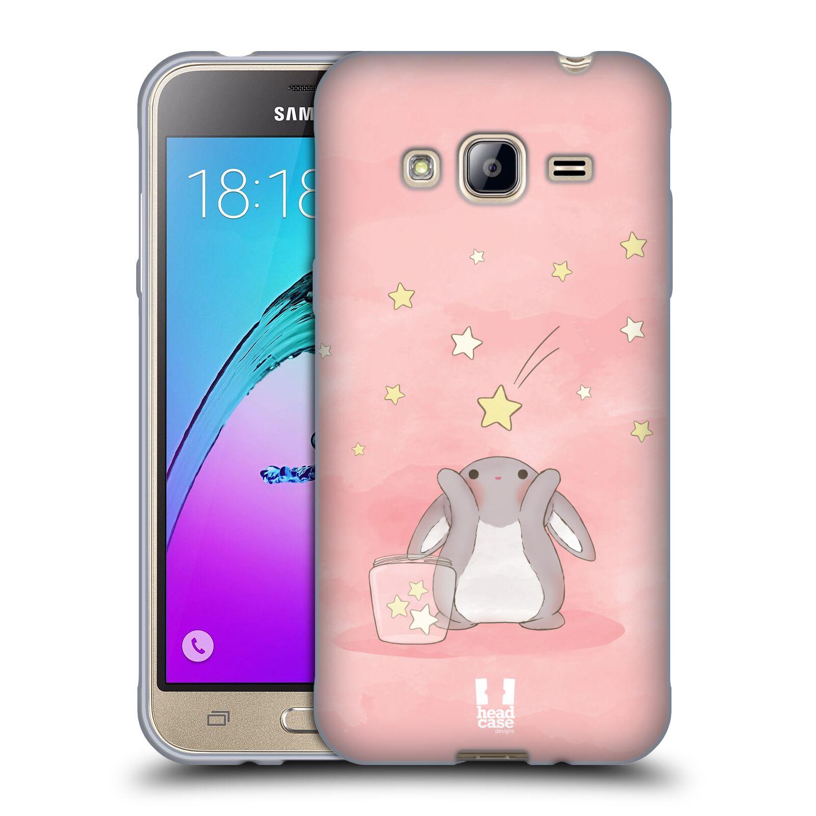 HEAD CASE silikonový obal na mobil Samsung Galaxy J3, J3 2016 vzor králíček a hvězdy růžová