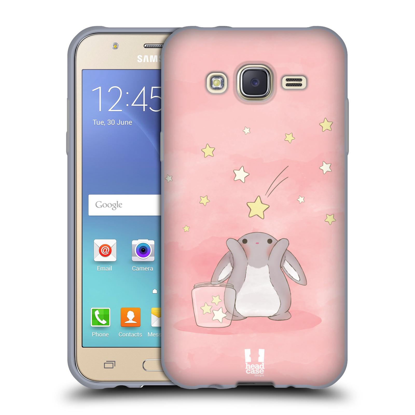 HEAD CASE silikonový obal na mobil Samsung Galaxy J5, J500, (J5 DUOS) vzor králíček a hvězdy růžová