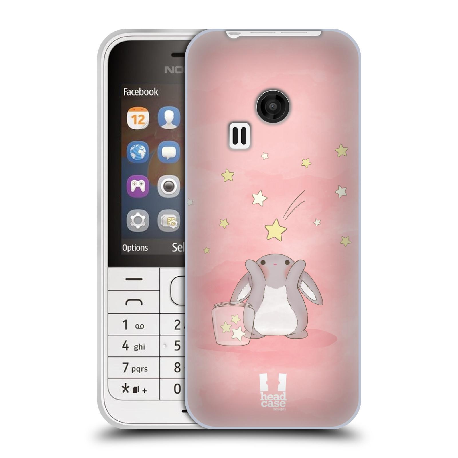 HEAD CASE silikonový obal na mobil NOKIA 220 / NOKIA 220 DUAL SIM vzor králíček a hvězdy růžová