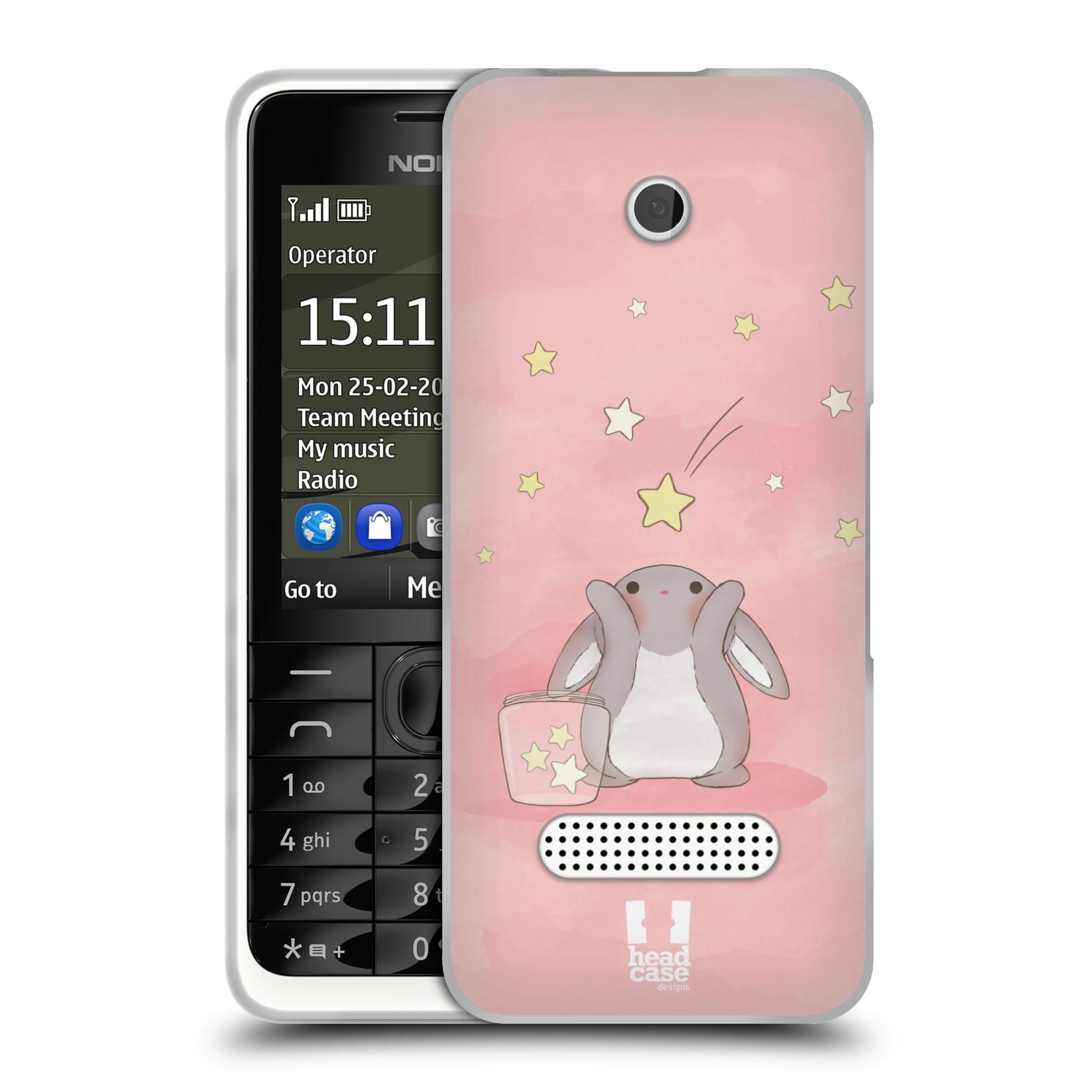 HEAD CASE silikonový obal na mobil NOKIA 301 vzor králíček a hvězdy růžová