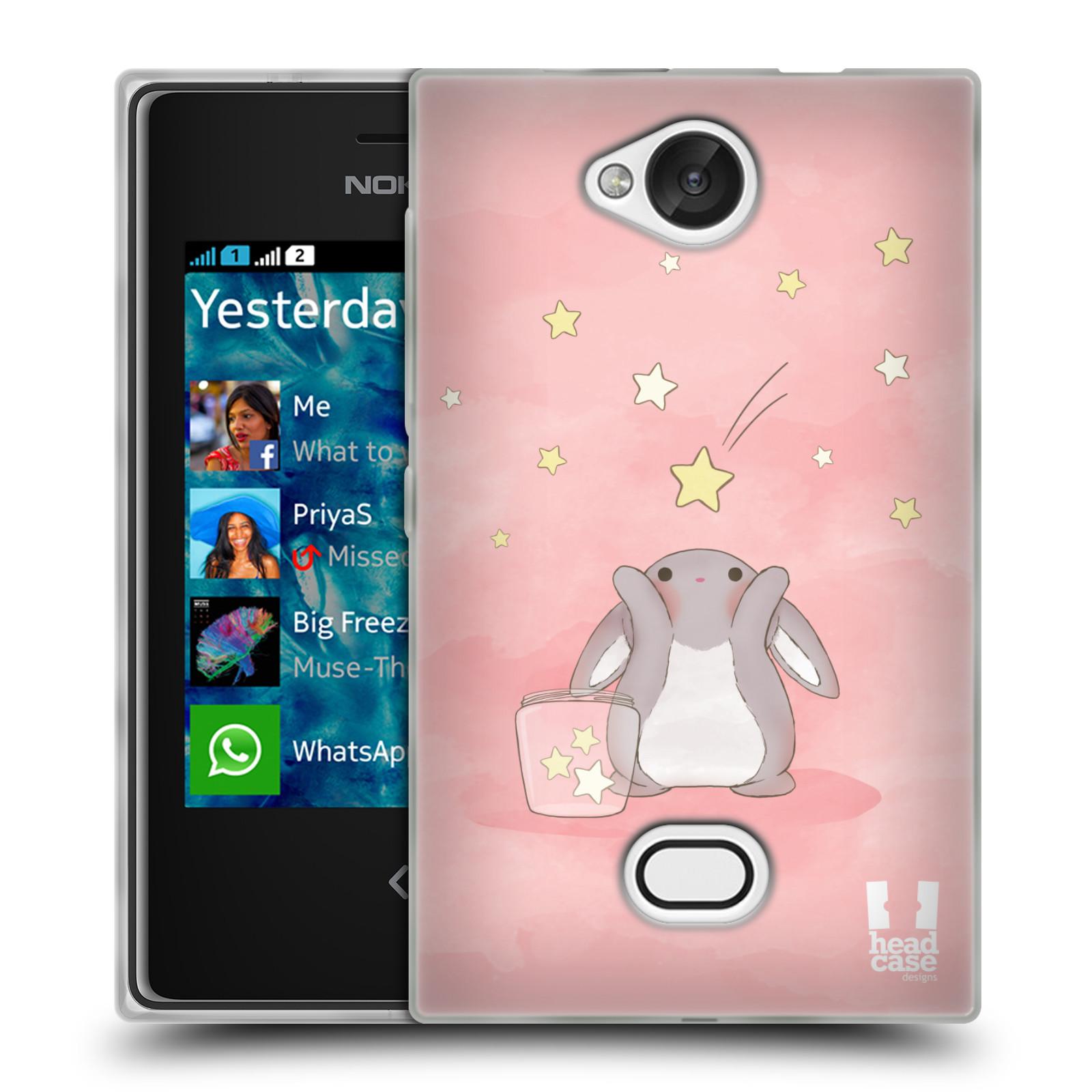 HEAD CASE silikonový obal na mobil NOKIA Asha 503 vzor králíček a hvězdy růžová