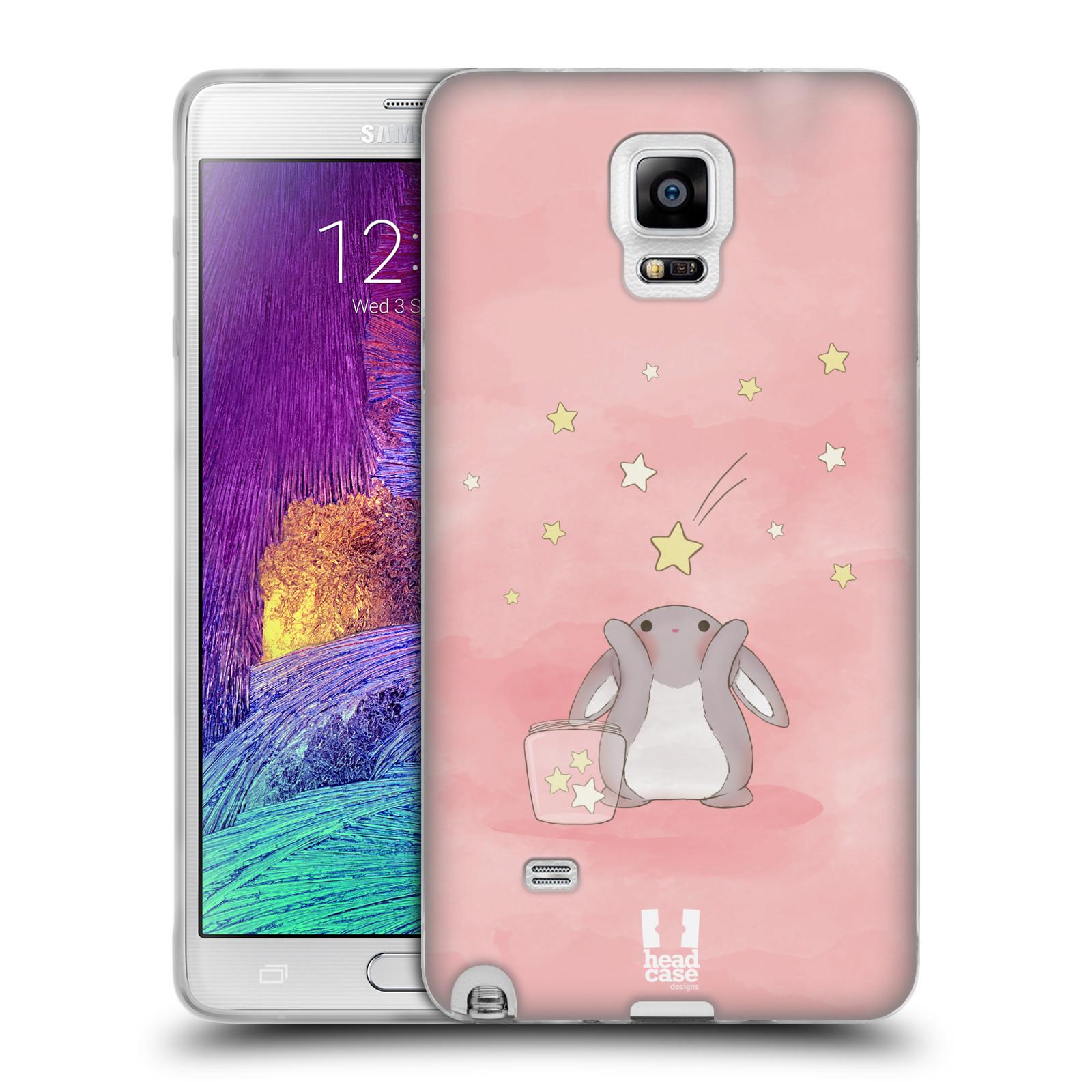 HEAD CASE silikonový obal na mobil Samsung Galaxy Note 4 (N910) vzor králíček a hvězdy růžová